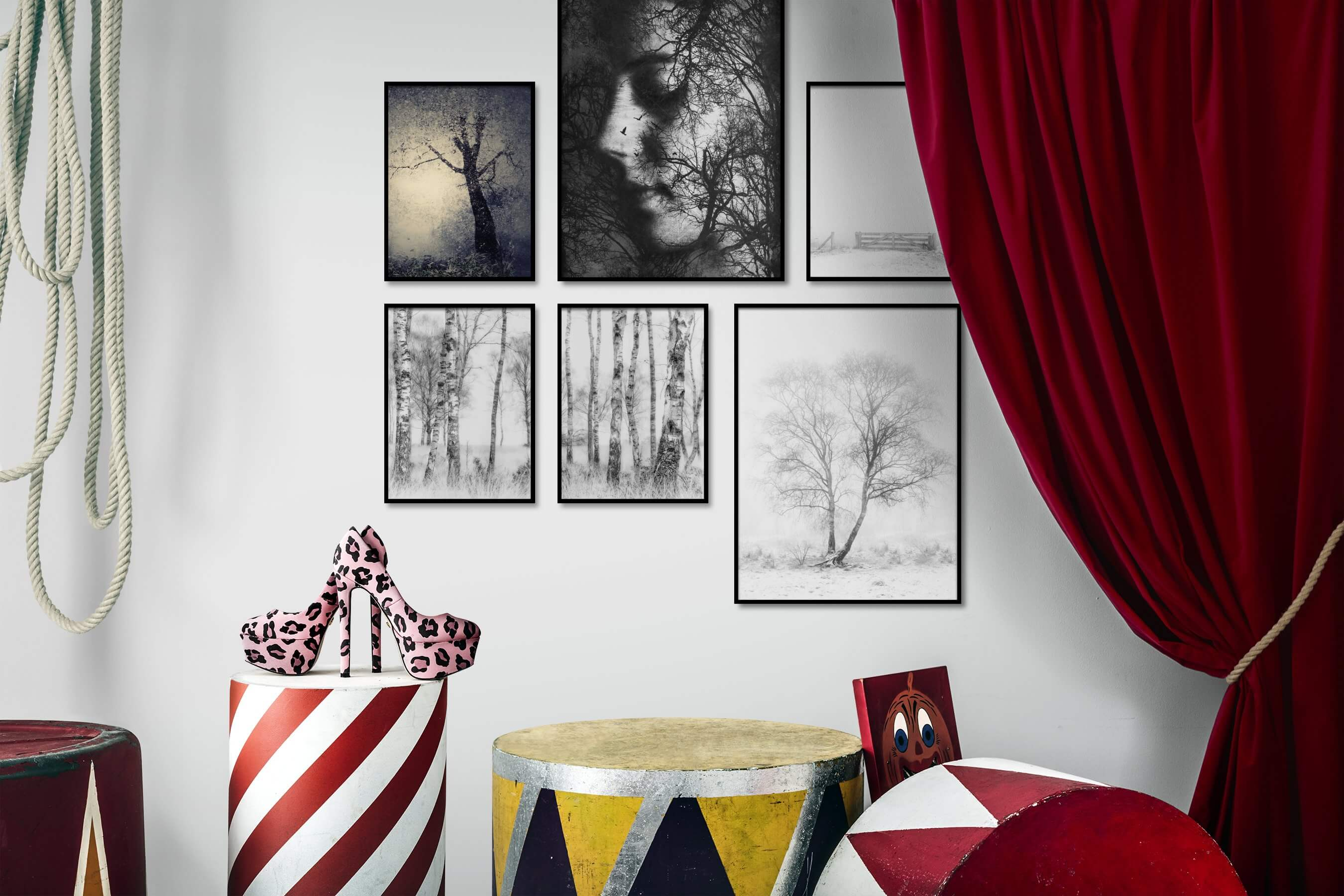 Gallery wall idea with six framed pictures arranged on a wall depicting Nature, Artsy, Black & White, Bright Tones, For the Minimalist, and Country Life