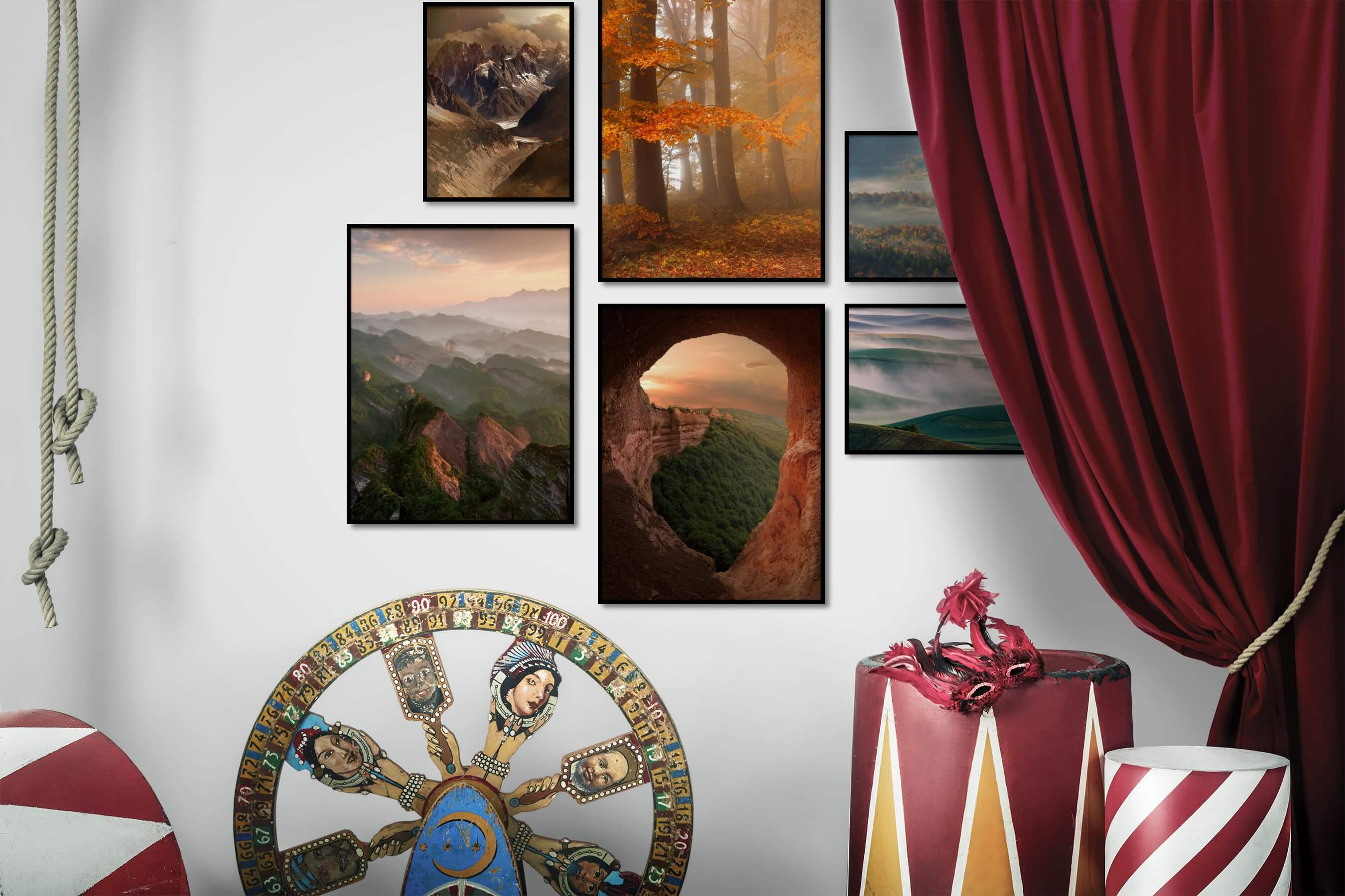 Gallery wall idea with six framed pictures arranged on a wall depicting Nature and Country Life