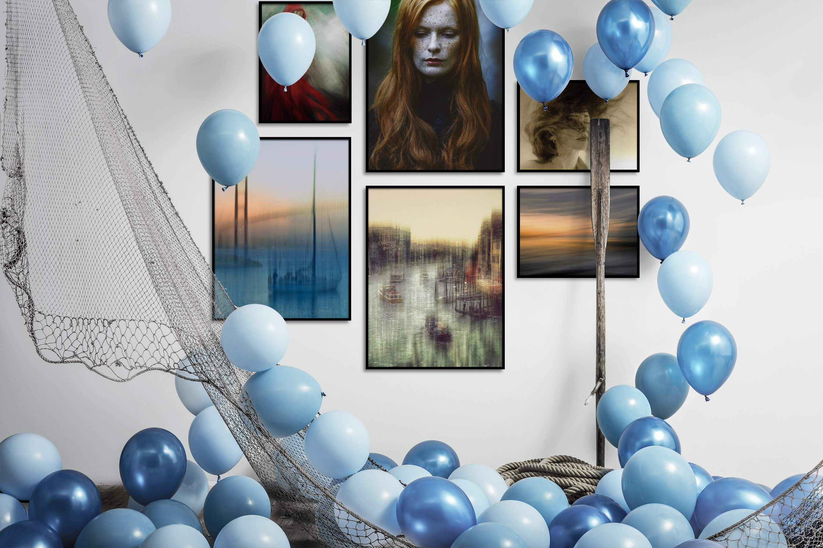 Gallery wall idea with six framed pictures arranged on a wall depicting Fashion & Beauty, Beach & Water, For the Moderate, and City Life