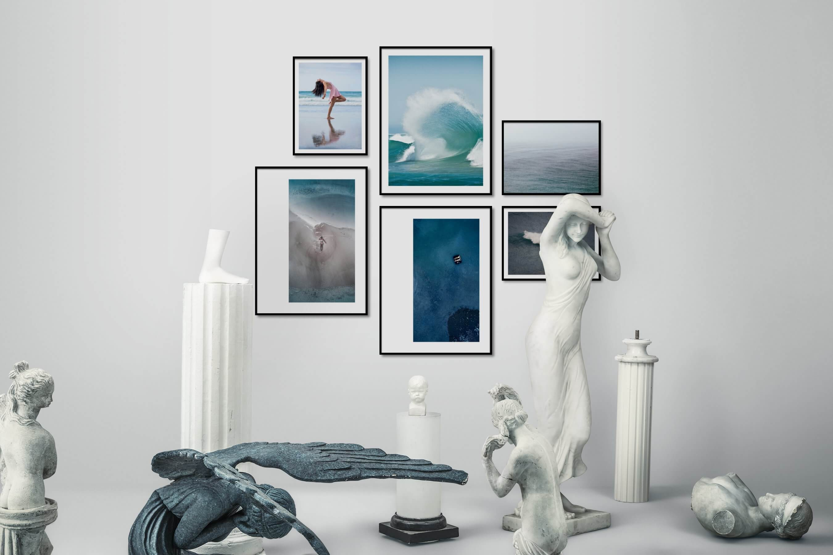 Gallery wall idea with six framed pictures arranged on a wall depicting Fashion & Beauty, Beach & Water, Mindfulness, For the Moderate, and For the Minimalist