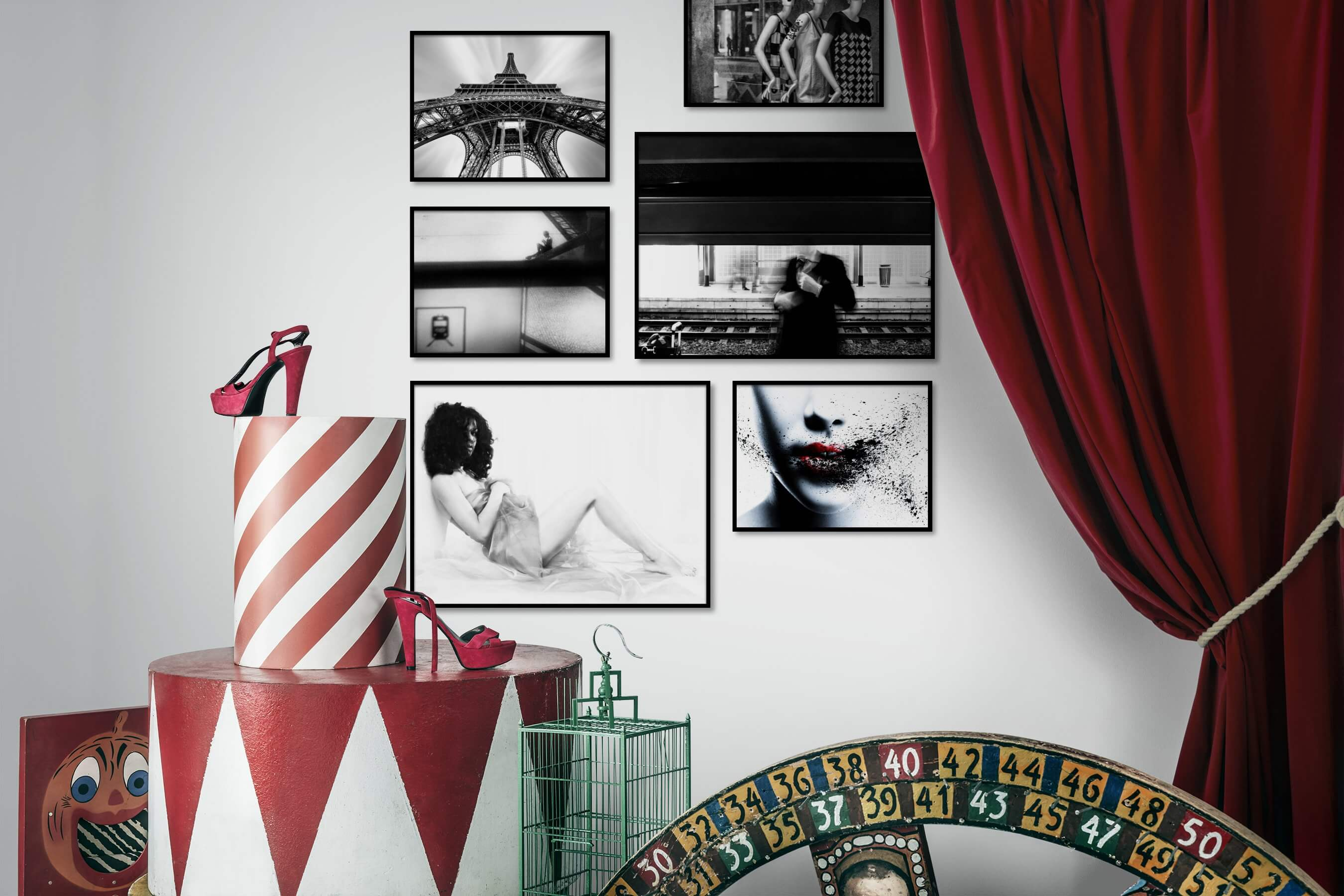 Gallery wall idea with six framed pictures arranged on a wall depicting Black & White, City Life, Fashion & Beauty, Artsy, Bright Tones, and For the Moderate