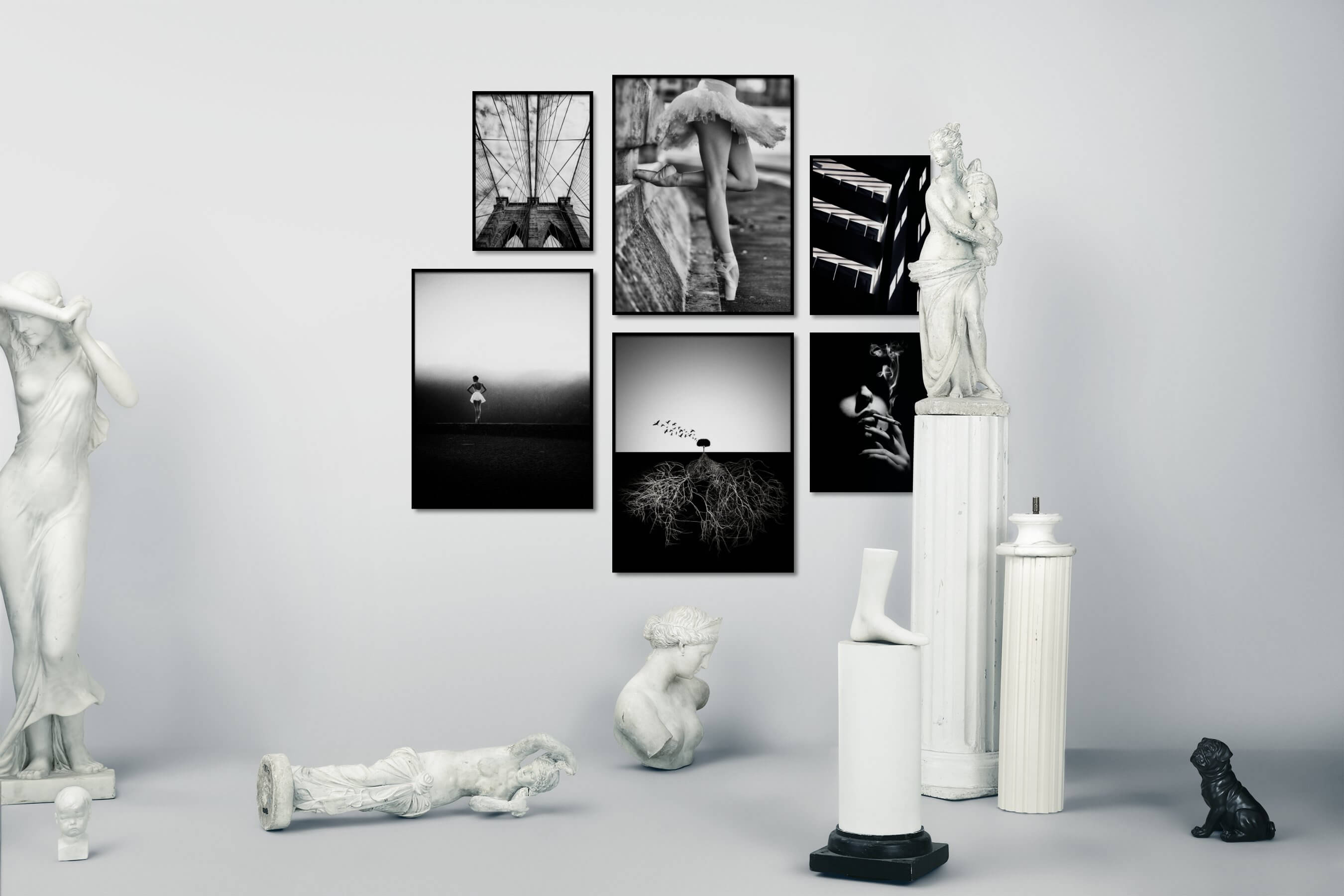 Gallery wall idea with six framed pictures arranged on a wall depicting Black & White, For the Moderate, City Life, Americana, Fashion & Beauty, Mindfulness, Nature, Dark Tones, and Vintage