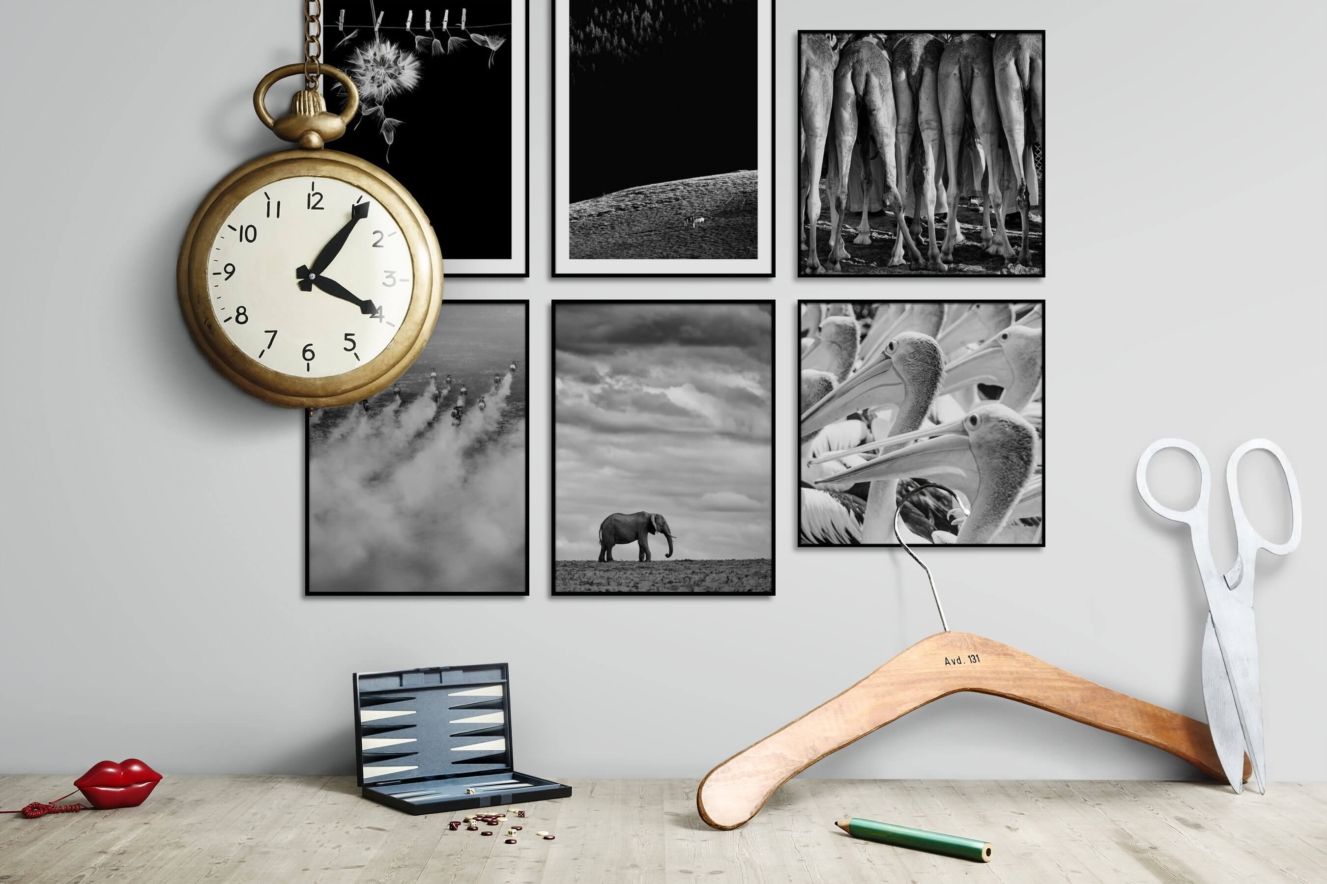 Gallery wall idea with six framed pictures arranged on a wall depicting Black & White, For the Minimalist, Flowers & Plants, Animals, Country Life, and For the Moderate
