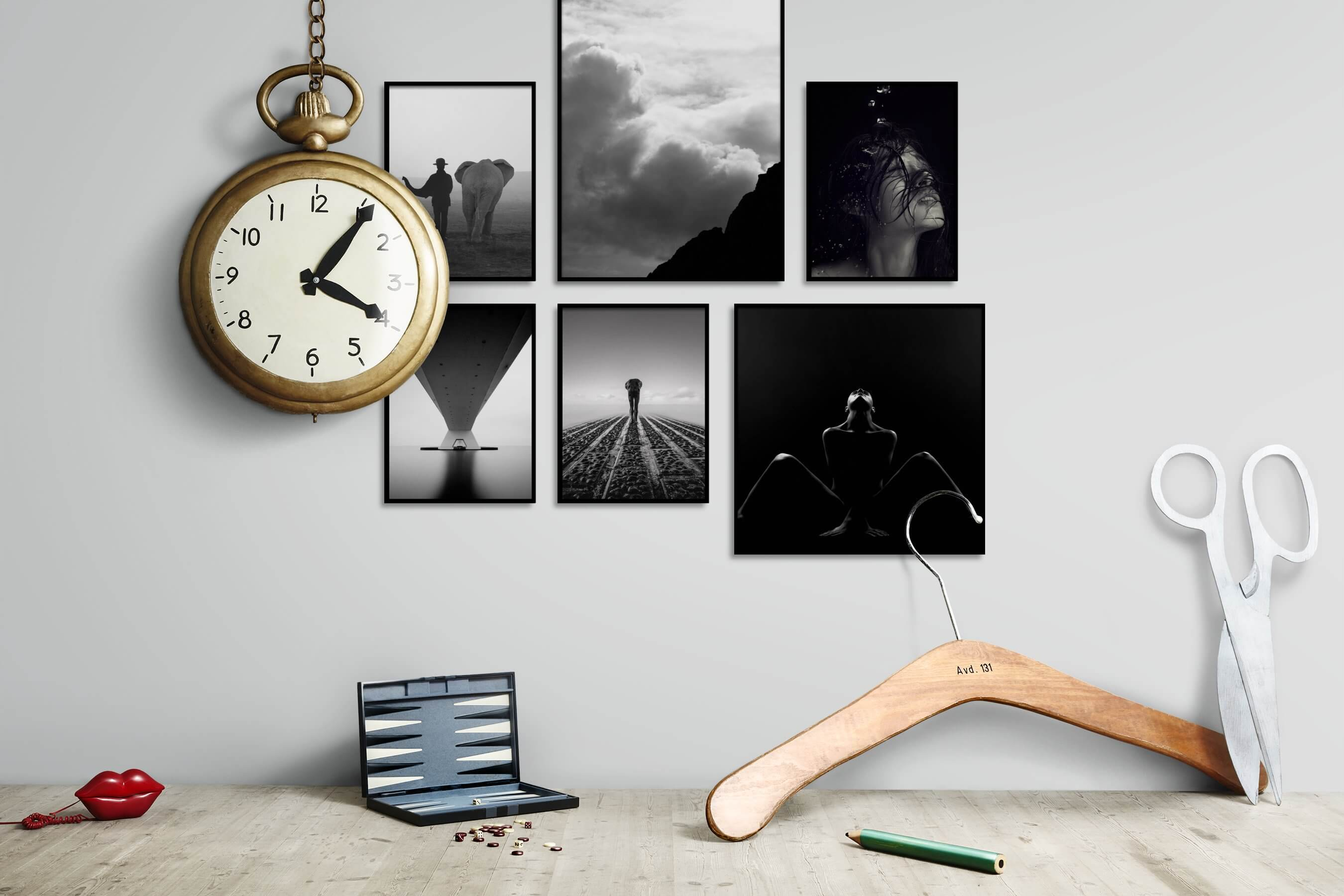 Gallery wall idea with six framed pictures arranged on a wall depicting Black & White, Animals, For the Moderate, Nature, Mindfulness, Artsy, Fashion & Beauty, Dark Tones, and For the Minimalist