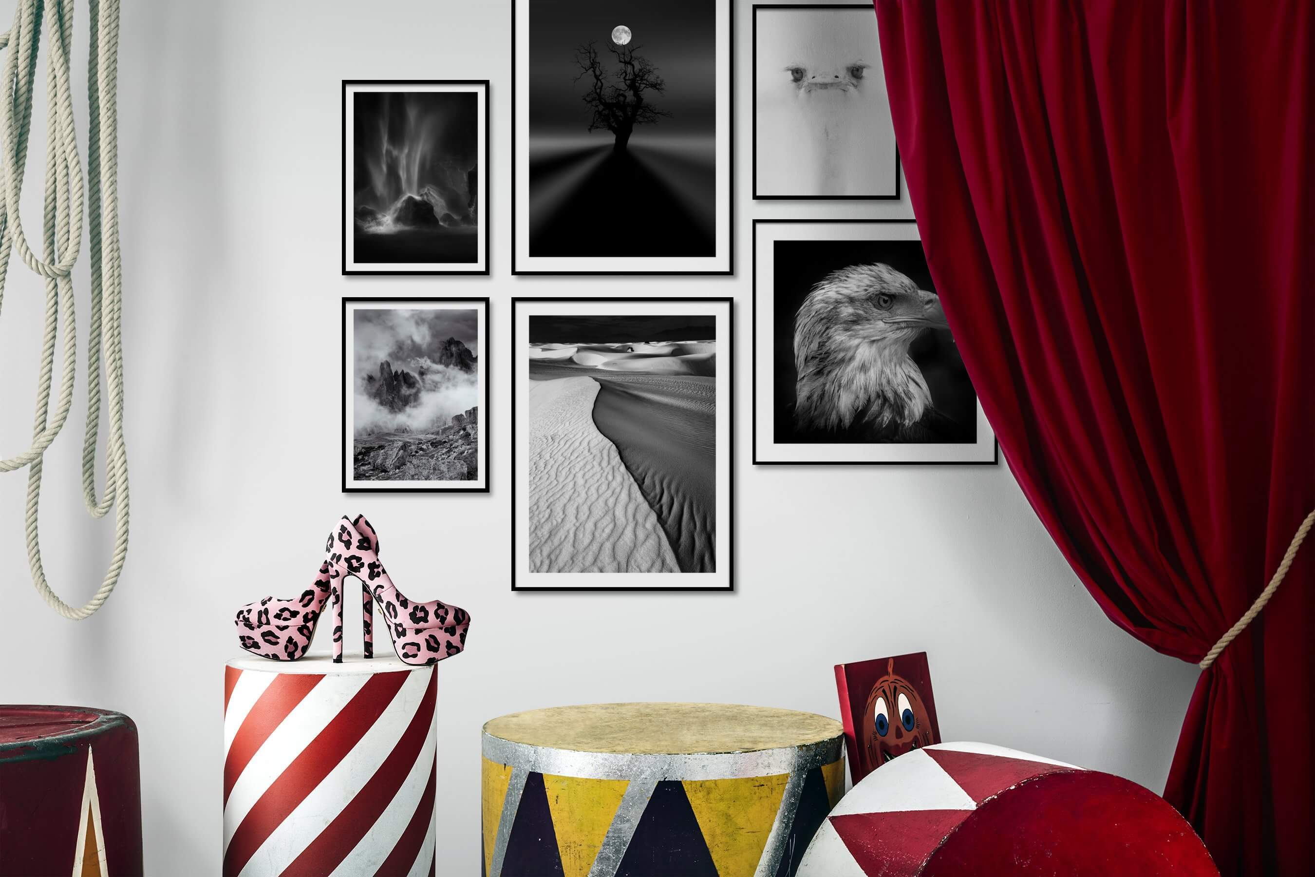 Gallery wall idea with six framed pictures arranged on a wall depicting Black & White, Nature, For the Minimalist, Bright Tones, Animals, and Americana