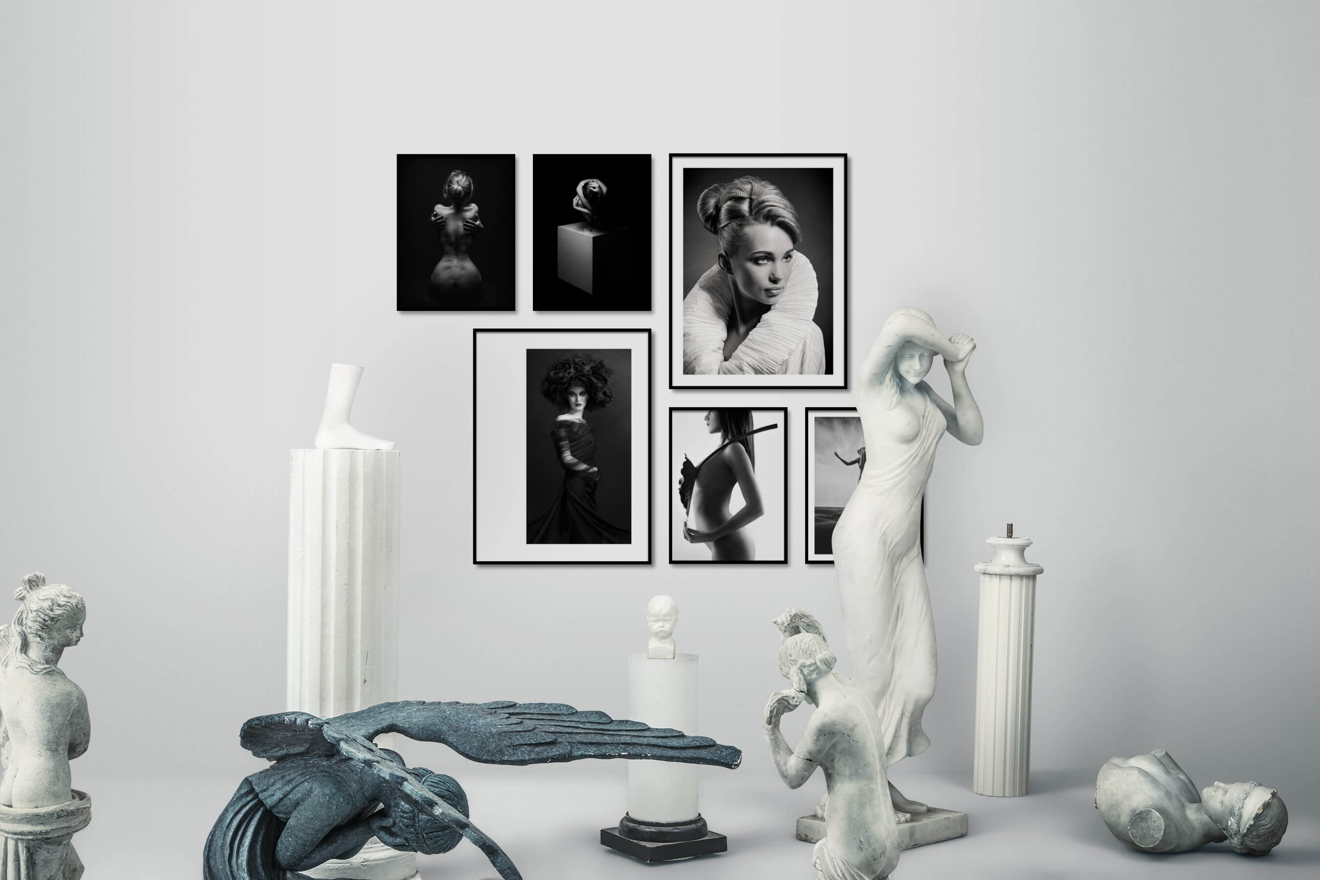 Gallery wall idea with six framed pictures arranged on a wall depicting Fashion & Beauty, Black & White, Dark Tones, For the Minimalist, Artsy, Vintage, and Bright Tones