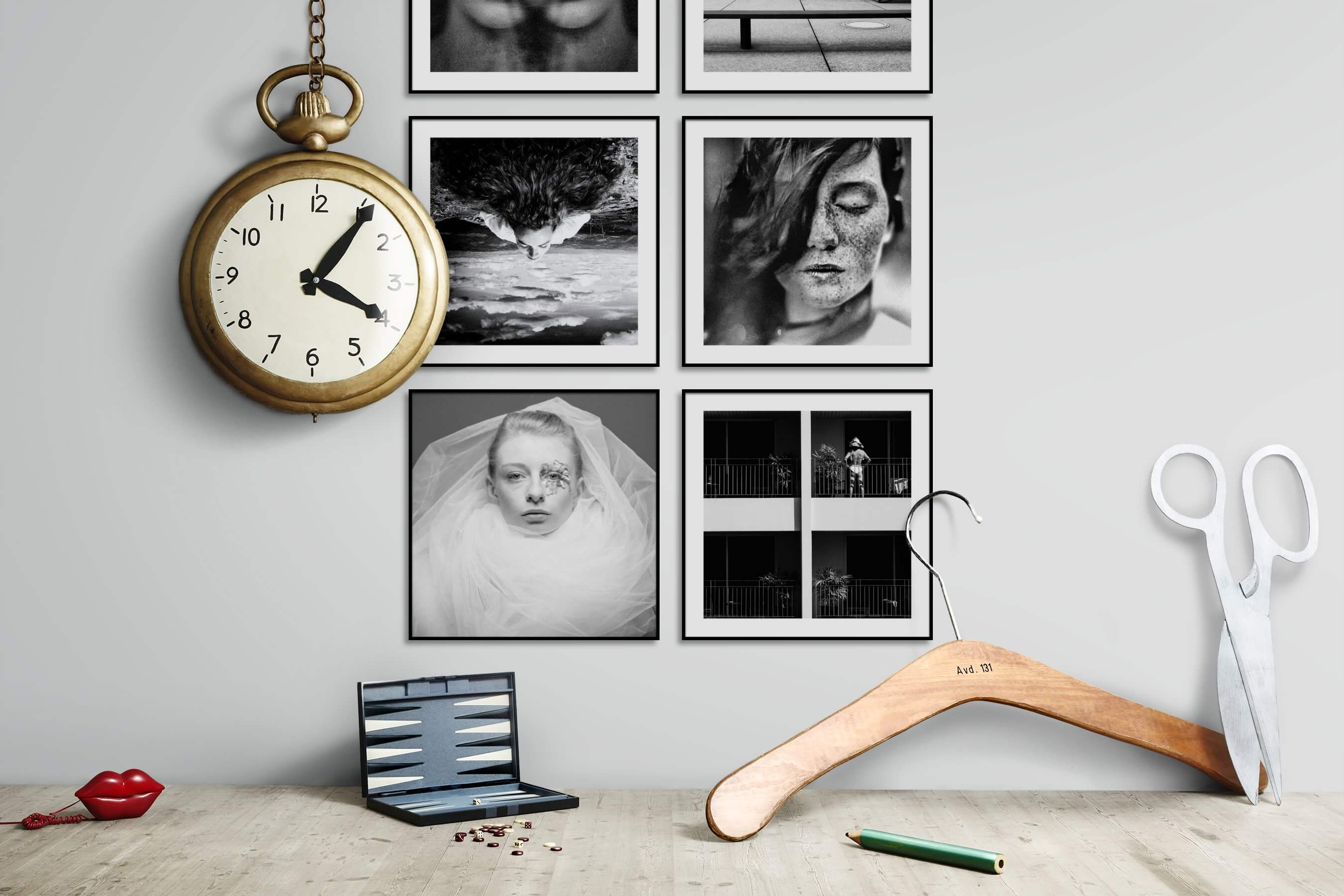 Gallery wall idea with six framed pictures arranged on a wall depicting Artsy, Black & White, For the Minimalist, Fashion & Beauty, and City Life