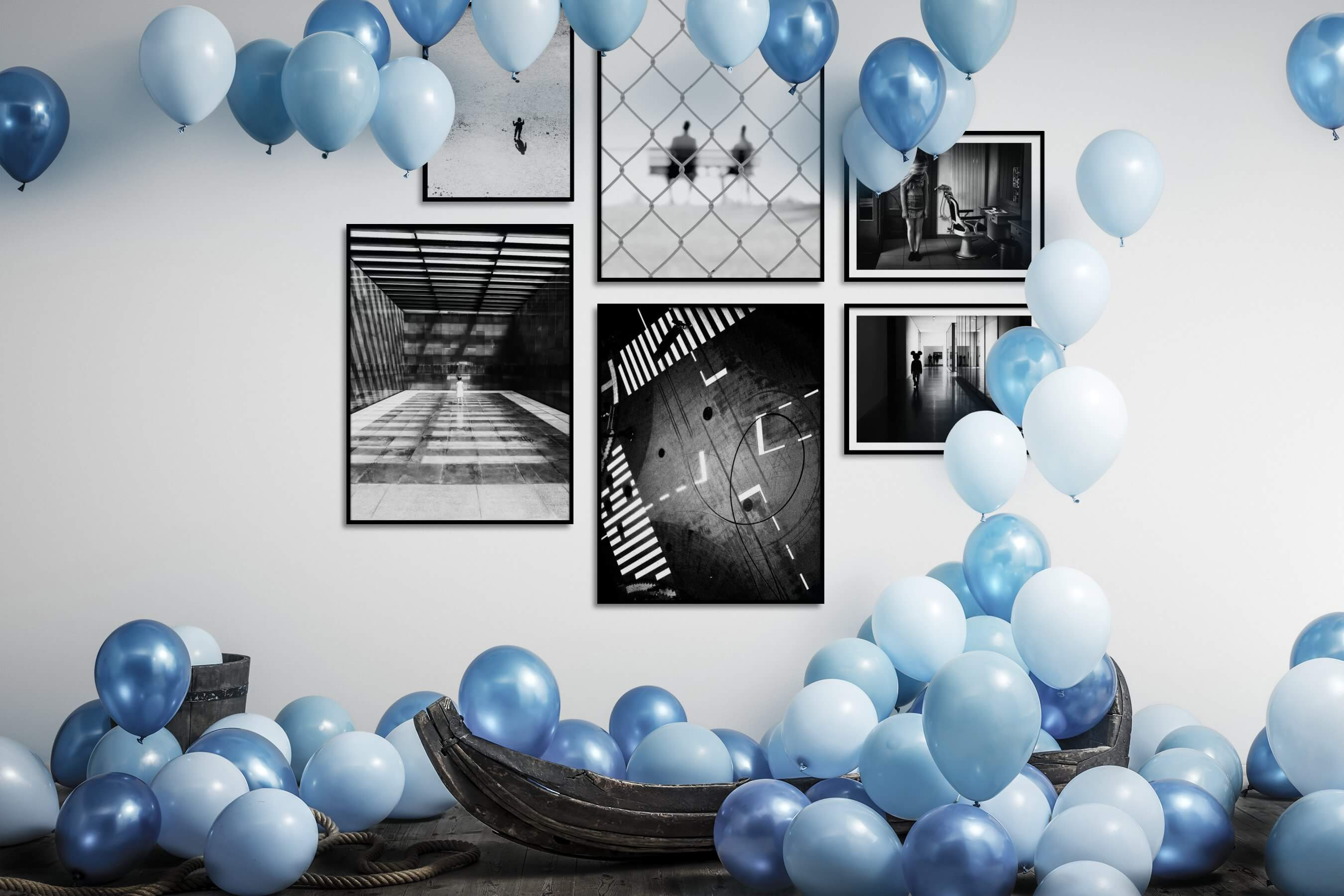 Gallery wall idea with six framed pictures arranged on a wall depicting Black & White, For the Minimalist, For the Moderate, Artsy, and City Life