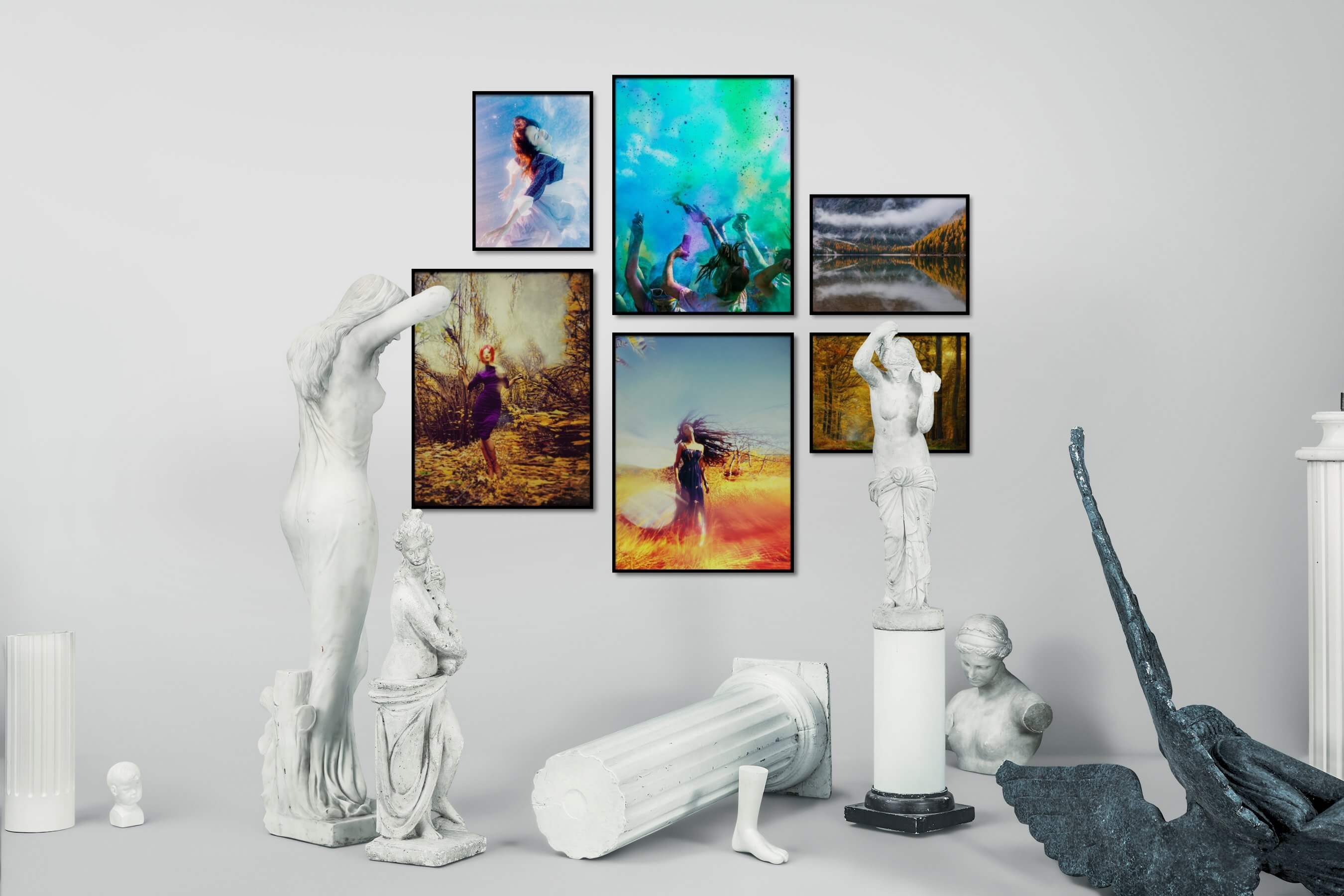 Gallery wall idea with six framed pictures arranged on a wall depicting Fashion & Beauty, Beach & Water, Colorful, For the Moderate, Artsy, and Nature