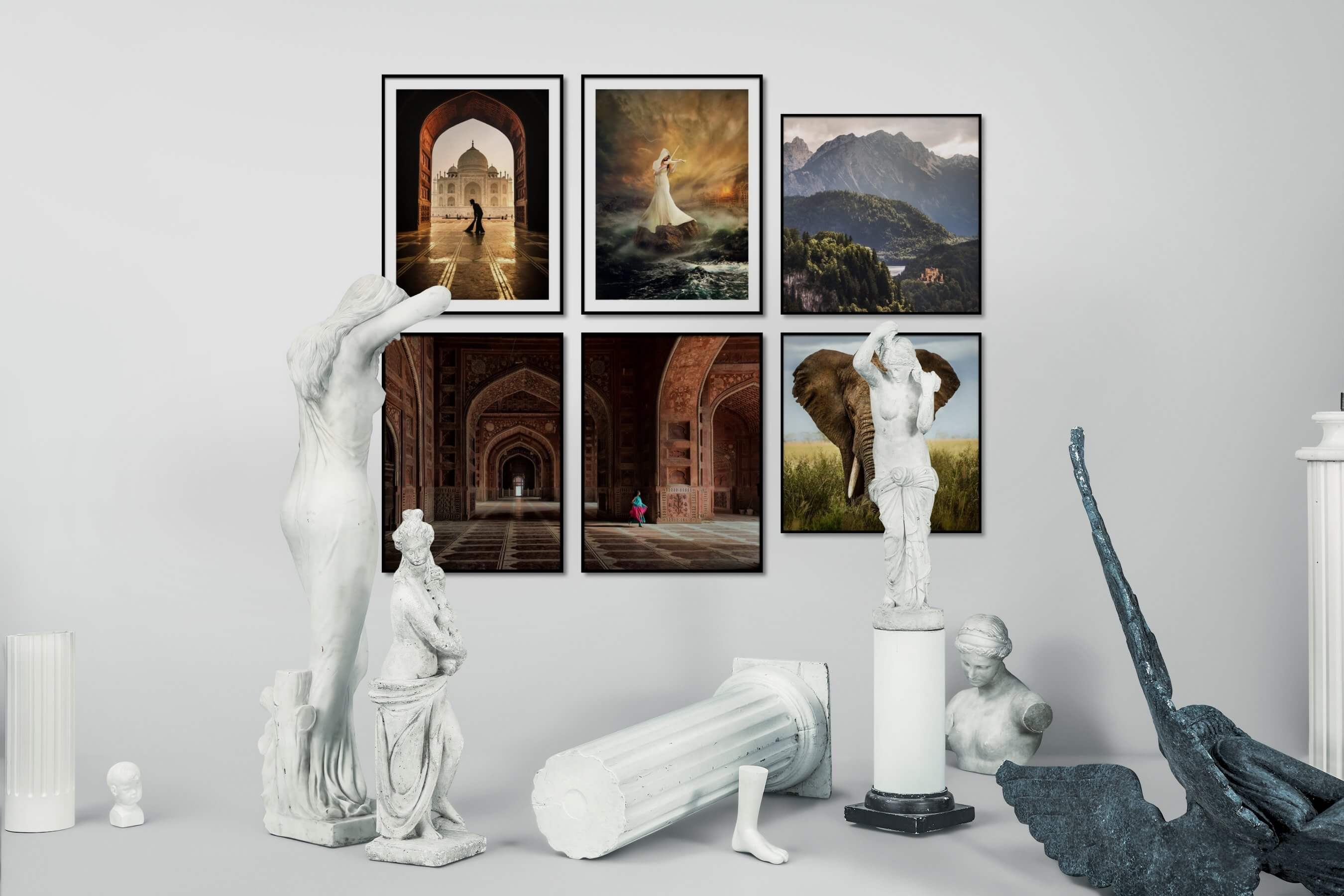 Gallery wall idea with six framed pictures arranged on a wall depicting For the Moderate, Artsy, Nature, and Animals