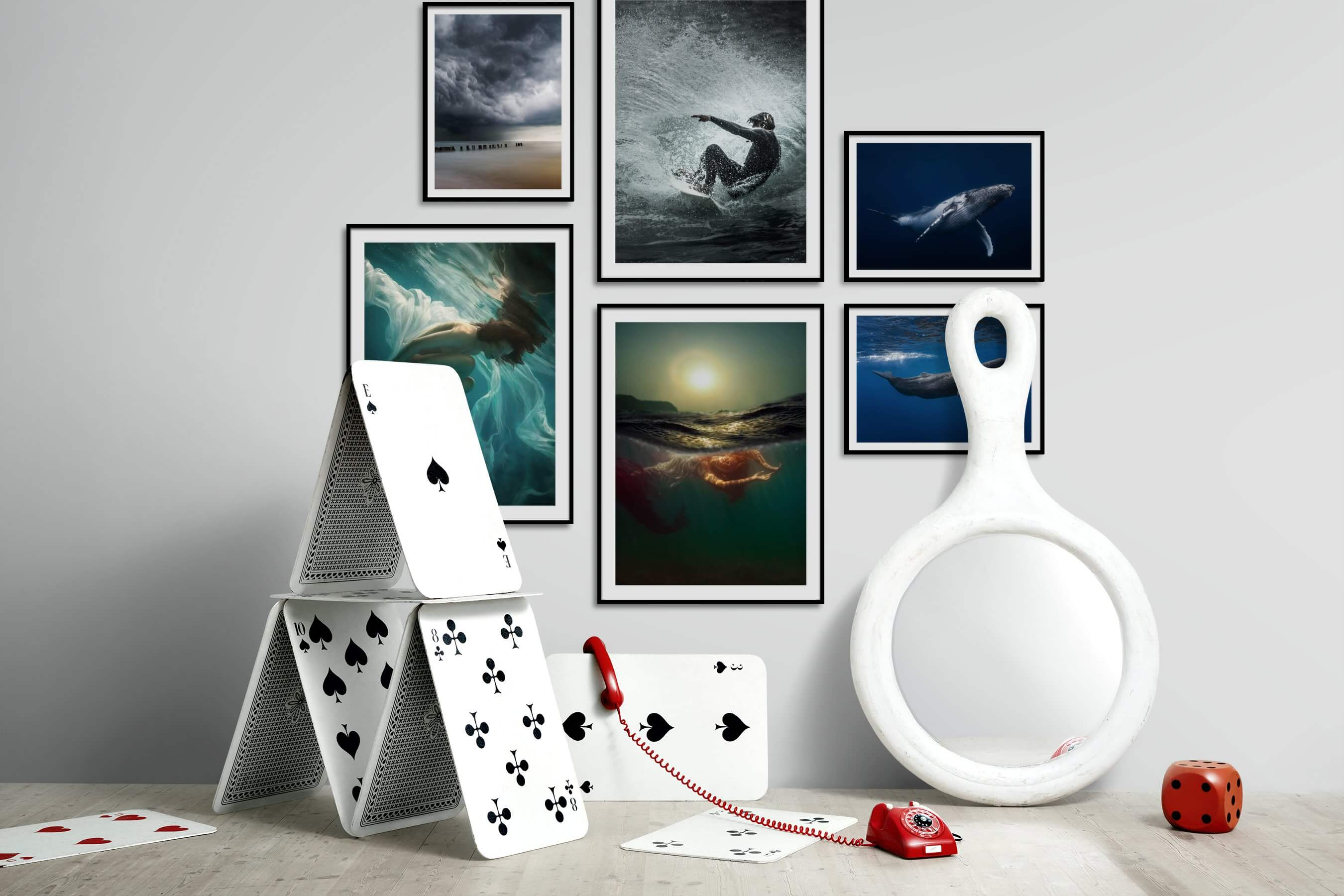 Gallery wall idea with six framed pictures arranged on a wall depicting For the Moderate, Beach & Water, Fashion & Beauty, For the Minimalist, and Animals