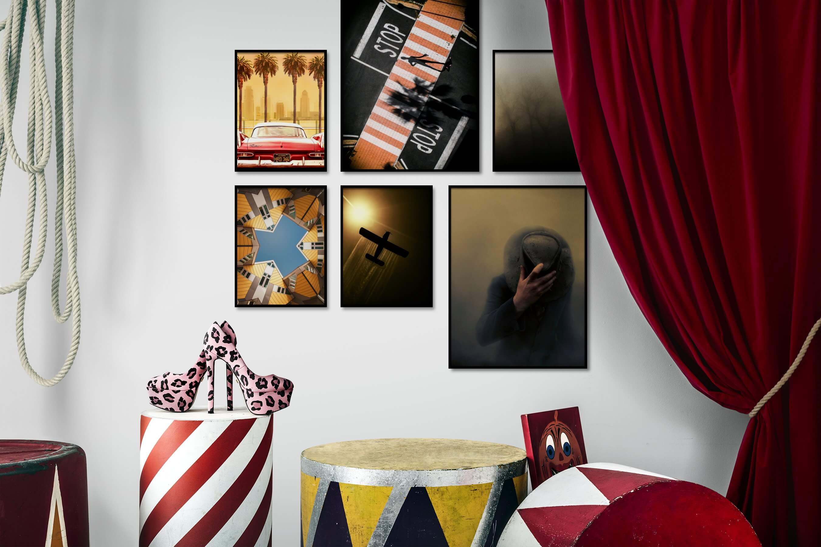 Gallery wall idea with six framed pictures arranged on a wall depicting City Life, Americana, Vintage, For the Moderate, Fashion & Beauty, For the Minimalist, and Nature