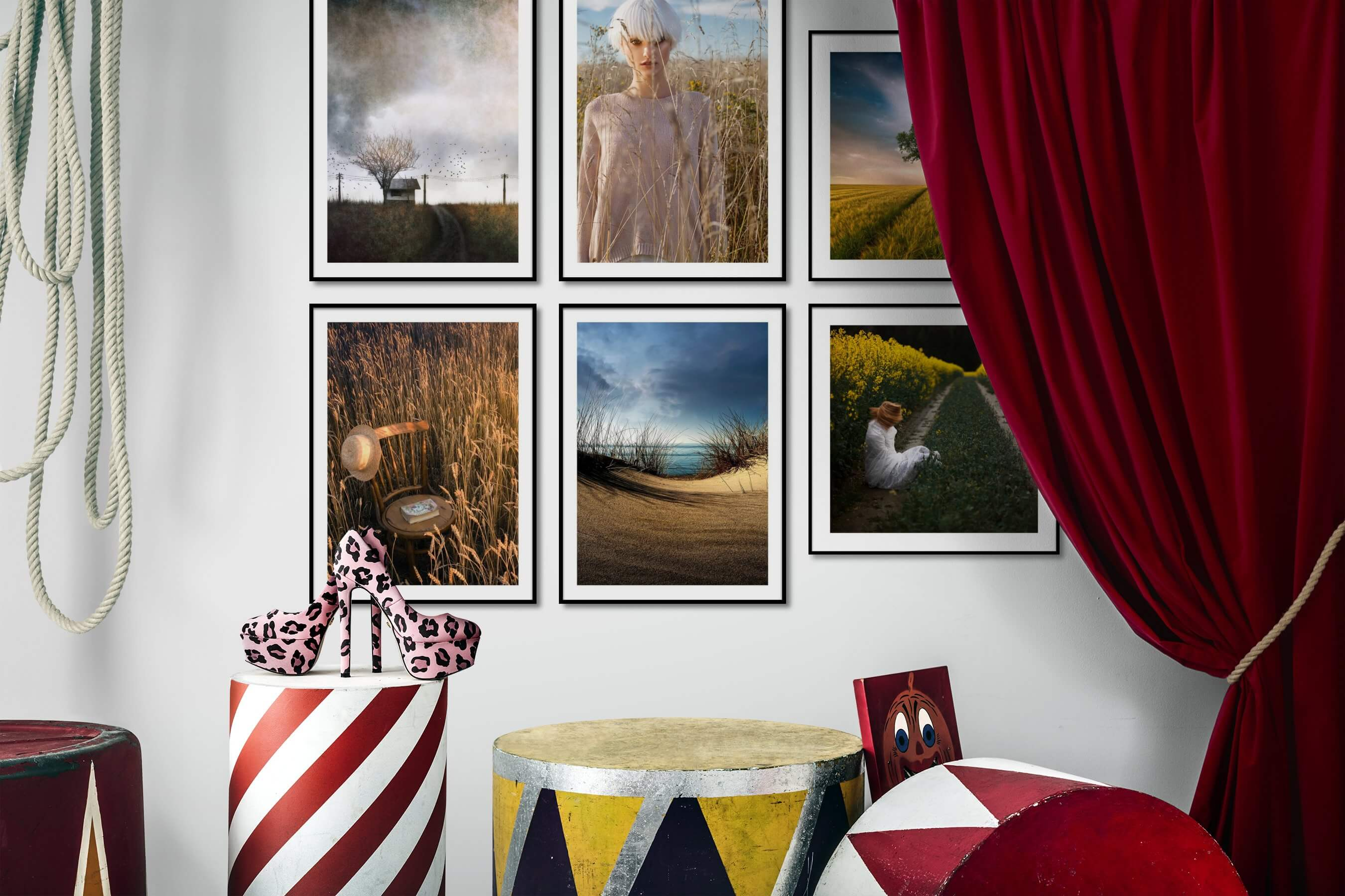 Gallery wall idea with six framed pictures arranged on a wall depicting Country Life, Fashion & Beauty, Mindfulness, For the Moderate, Beach & Water, and Artsy