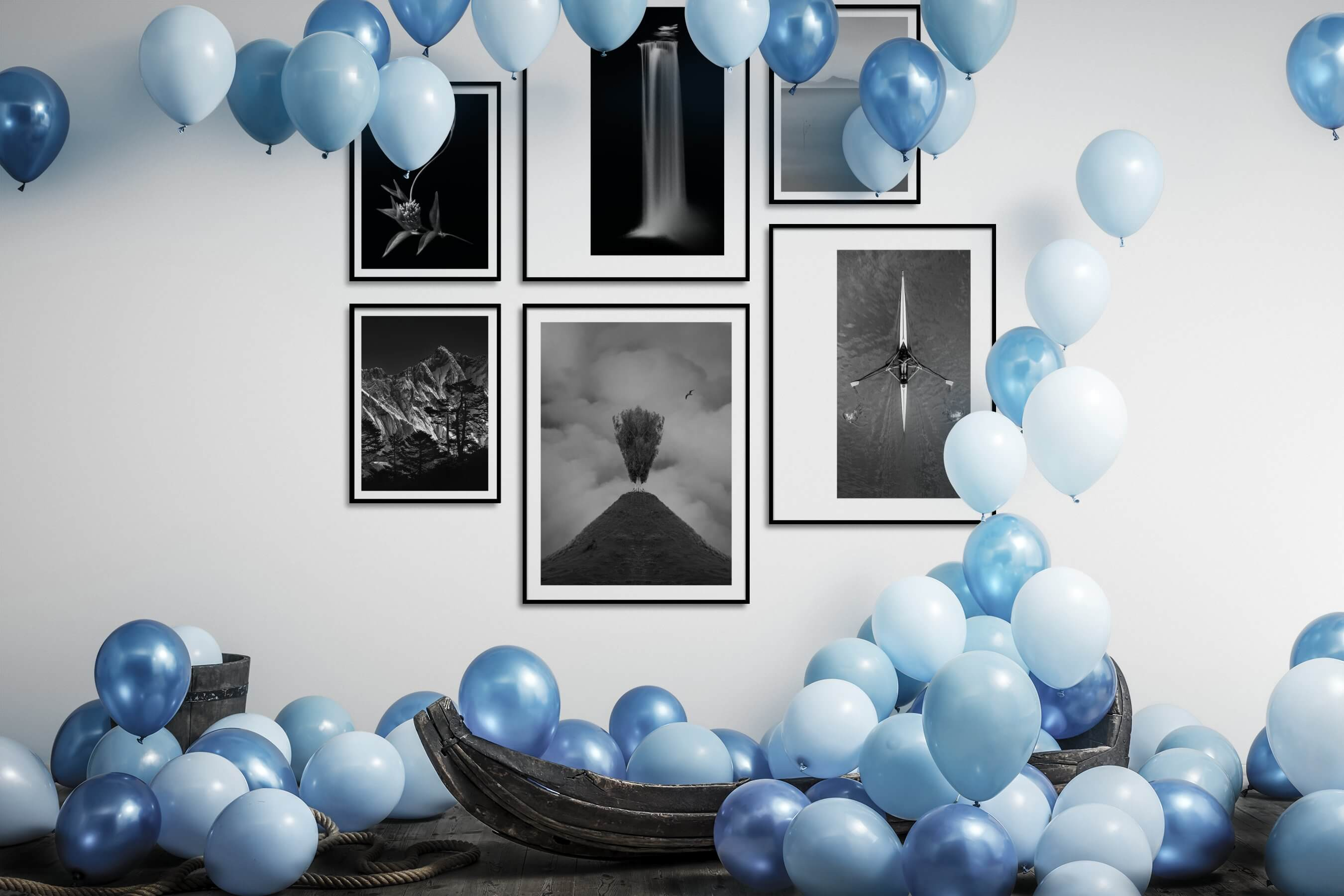 Gallery wall idea with six framed pictures arranged on a wall depicting Black & White, For the Minimalist, Flowers & Plants, Nature, Mindfulness, and Beach & Water