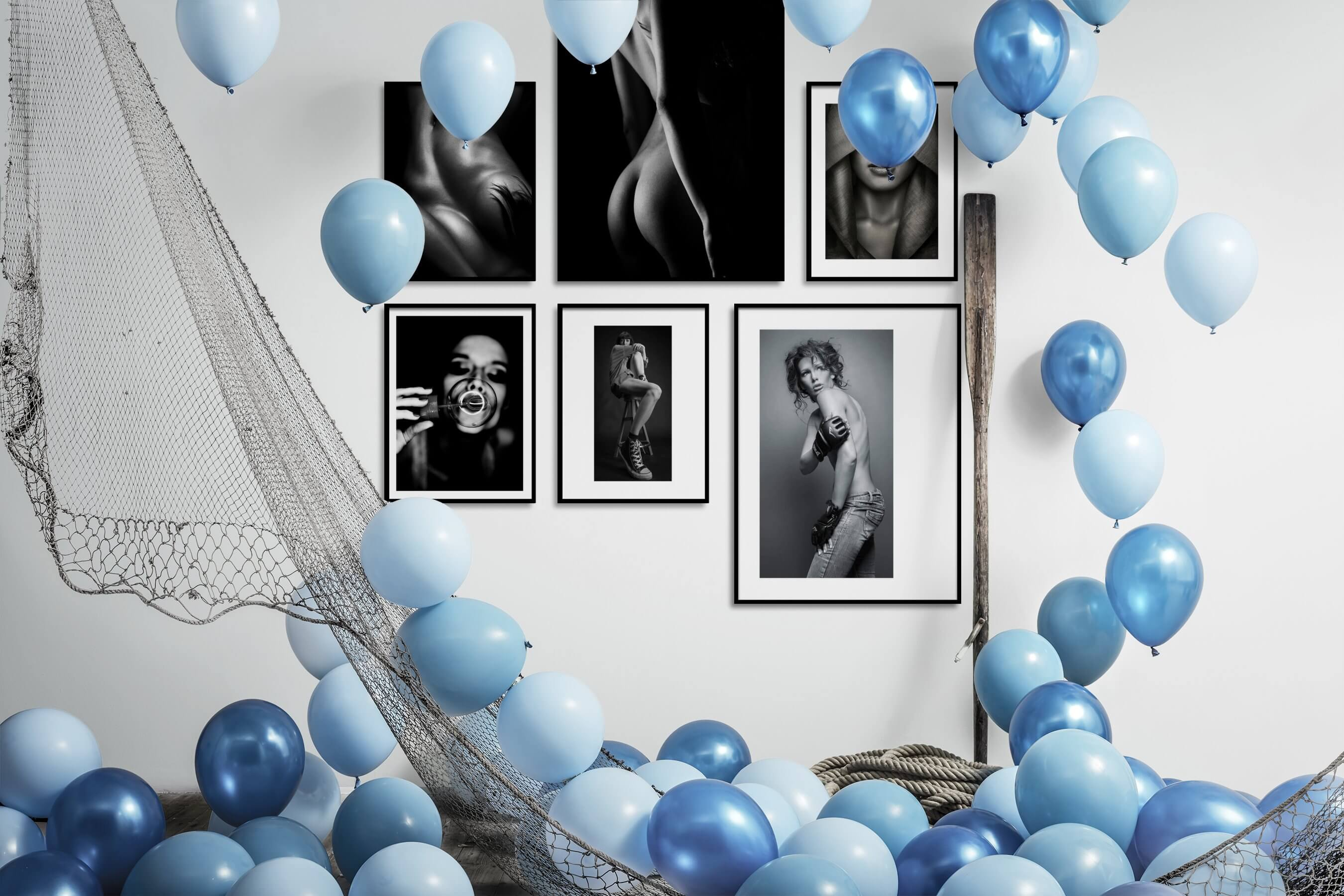 Gallery wall idea with six framed pictures arranged on a wall depicting Fashion & Beauty, Black & White, Dark Tones, For the Moderate, and For the Minimalist