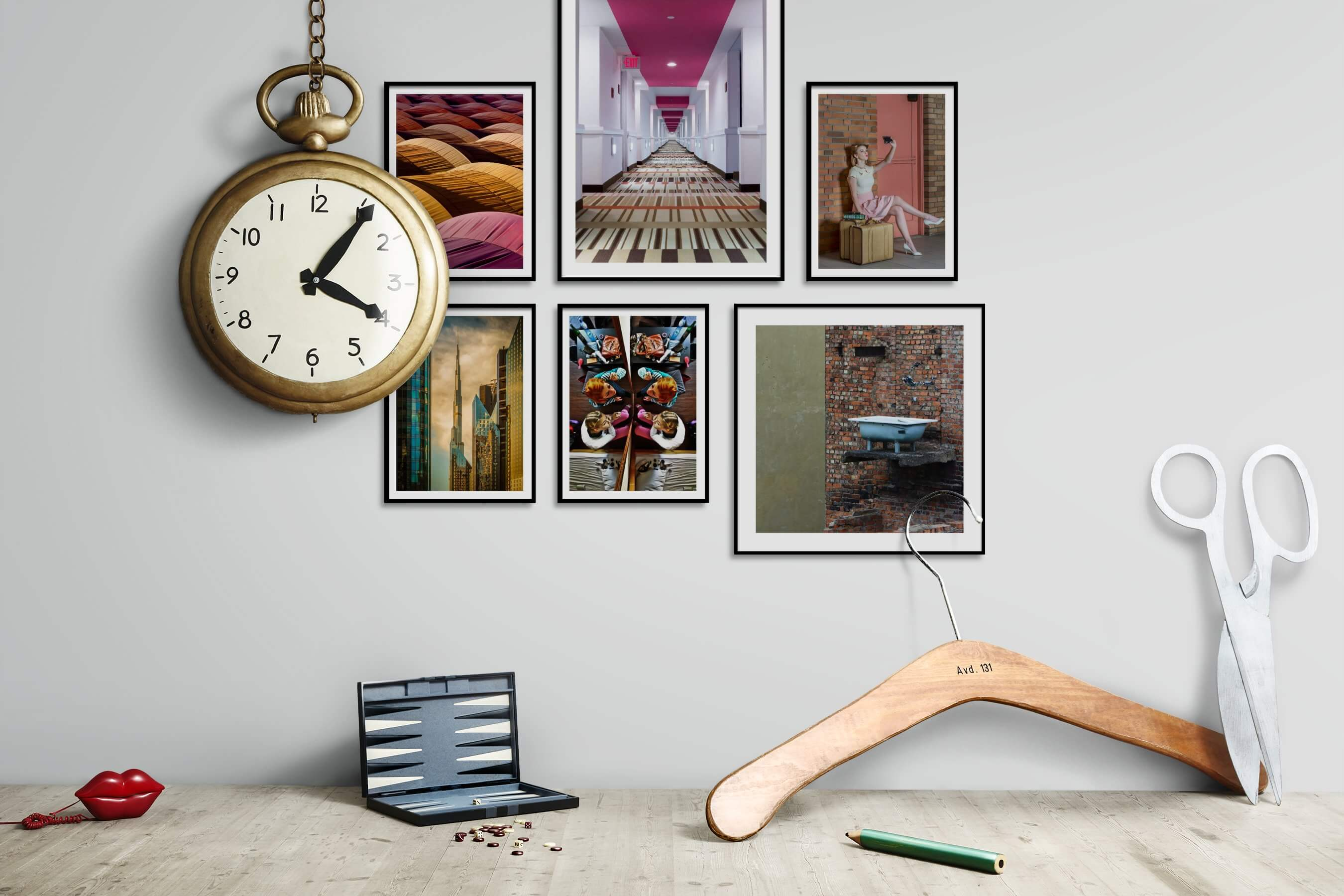 Gallery wall idea with six framed pictures arranged on a wall depicting Colorful, For the Moderate, City Life, Fashion & Beauty, Artsy, and Vintage