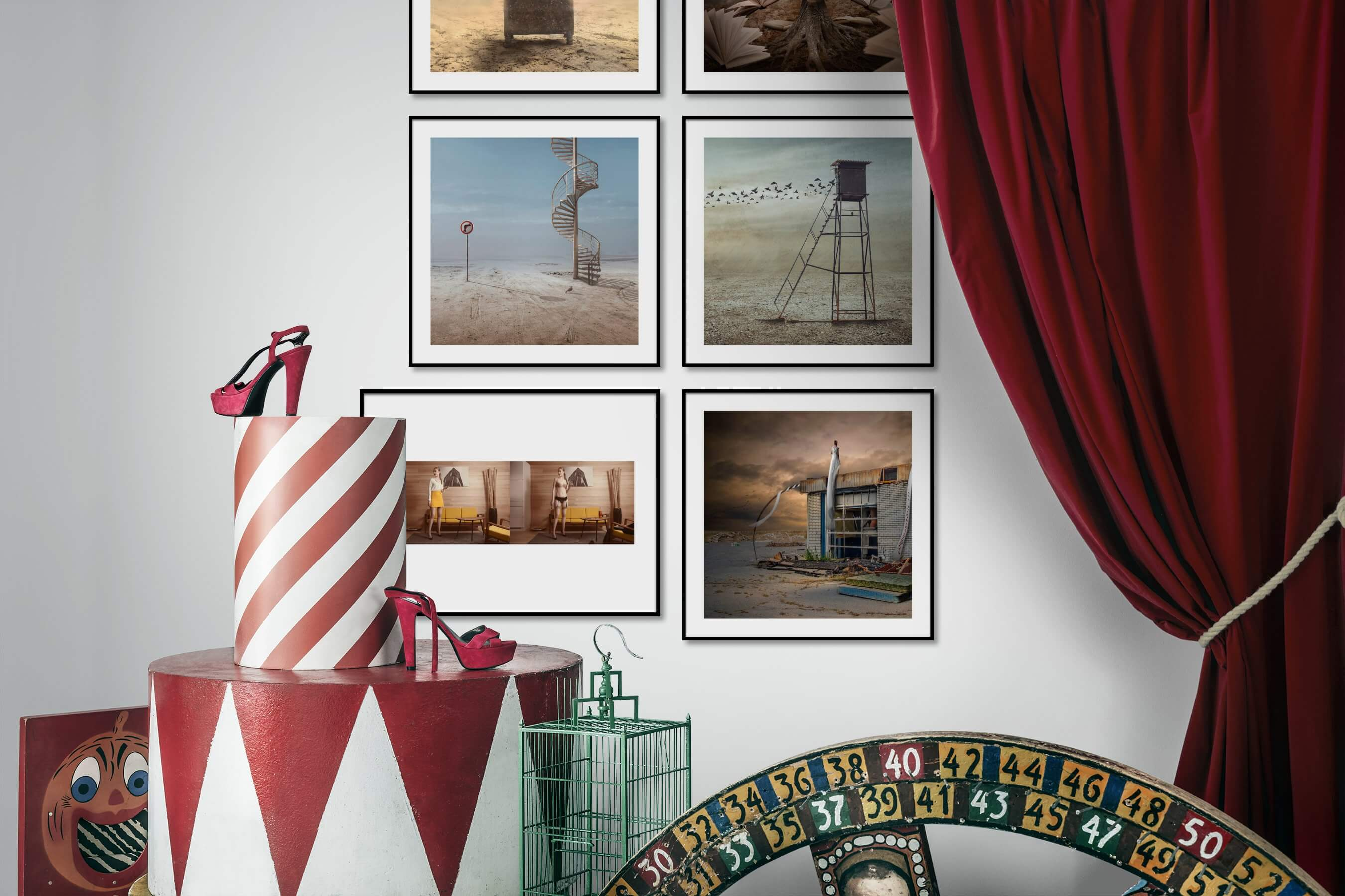 Gallery wall idea with six framed pictures arranged on a wall depicting Artsy, Nature, Mindfulness, For the Minimalist, For the Moderate, Fashion & Beauty, Vintage, and Country Life