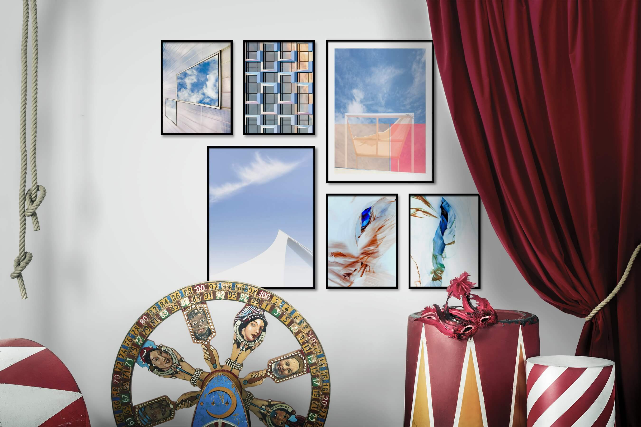 Gallery wall idea with six framed pictures arranged on a wall depicting For the Moderate, For the Maximalist, For the Minimalist, and Nature