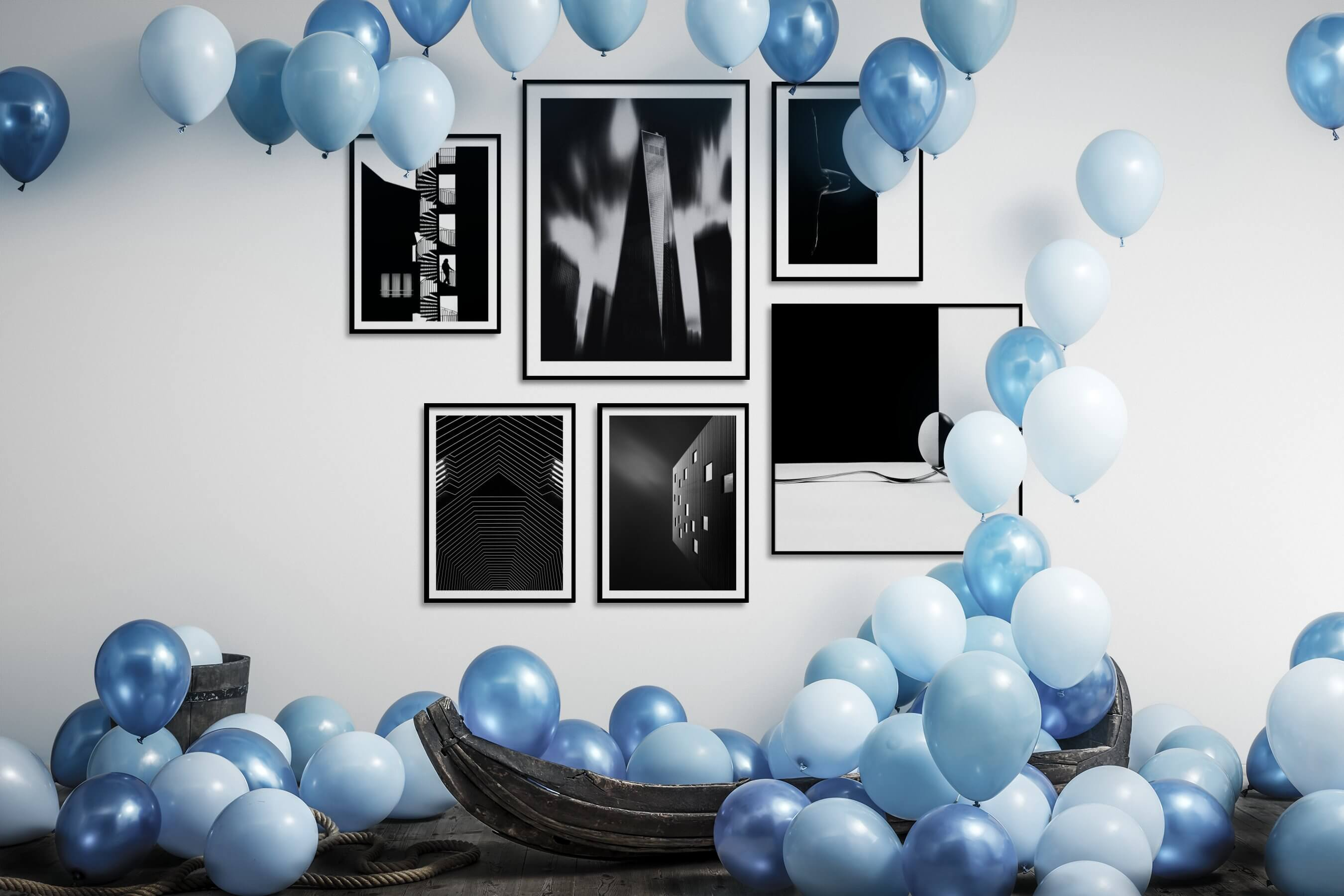 Gallery wall idea with six framed pictures arranged on a wall depicting Black & White, For the Moderate, City Life, For the Maximalist, For the Minimalist, and Fashion & Beauty
