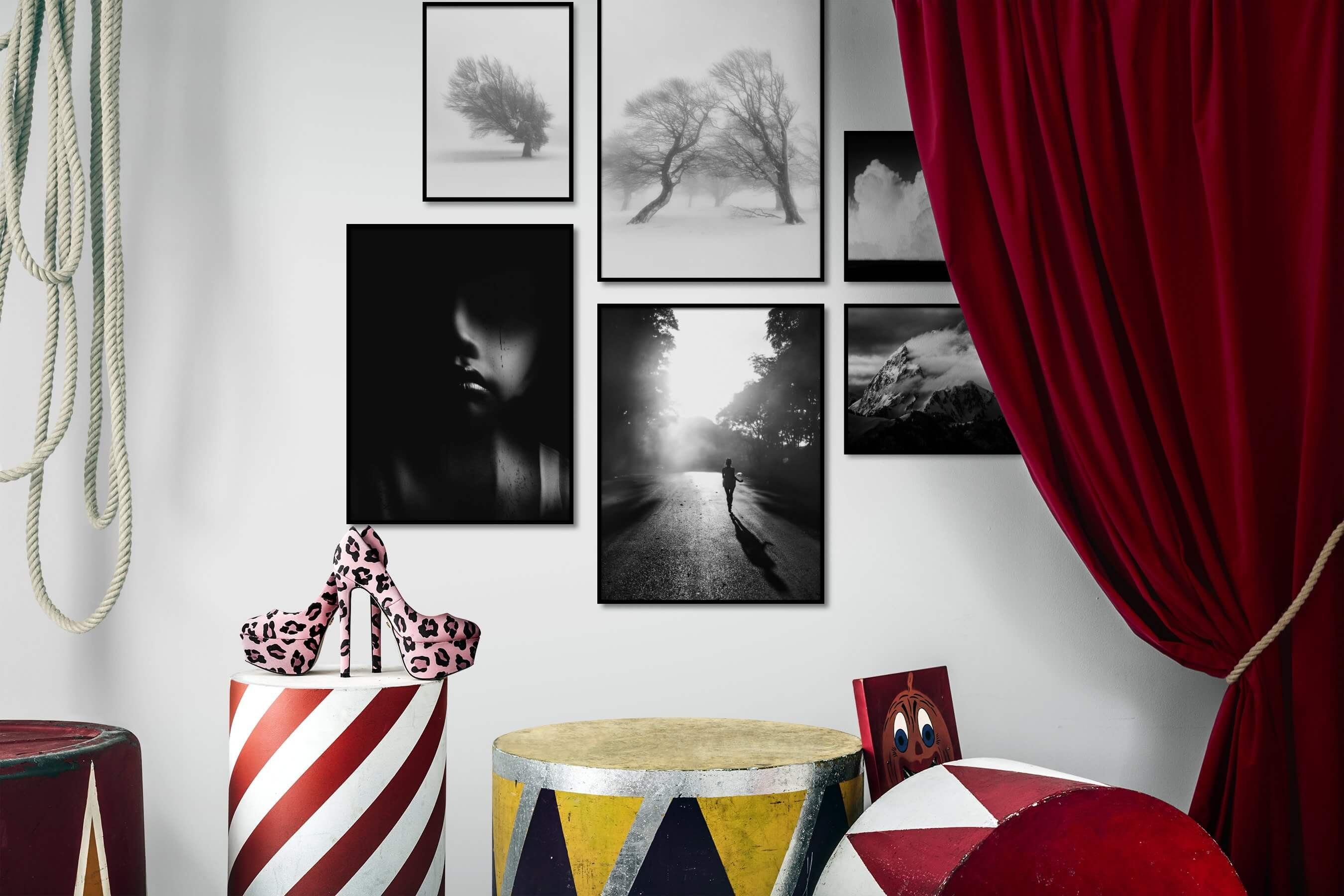 Gallery wall idea with six framed pictures arranged on a wall depicting Black & White, Bright Tones, For the Minimalist, Country Life, For the Moderate, Artsy, Dark Tones, Fashion & Beauty, Mindfulness, and Nature