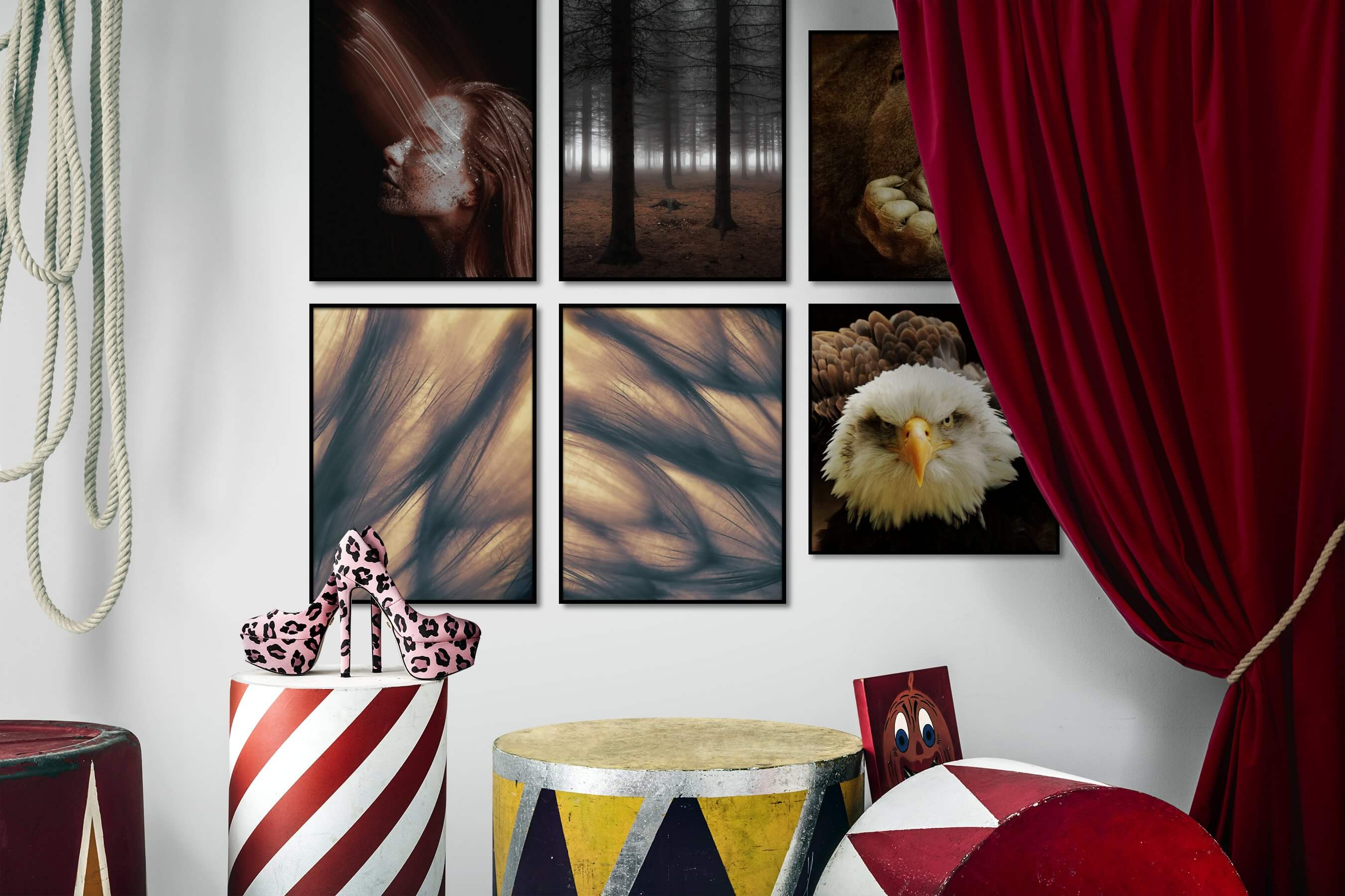 Gallery wall idea with six framed pictures arranged on a wall depicting Fashion & Beauty, Dark Tones, For the Moderate, Nature, Flowers & Plants, Mindfulness, Animals, and Americana