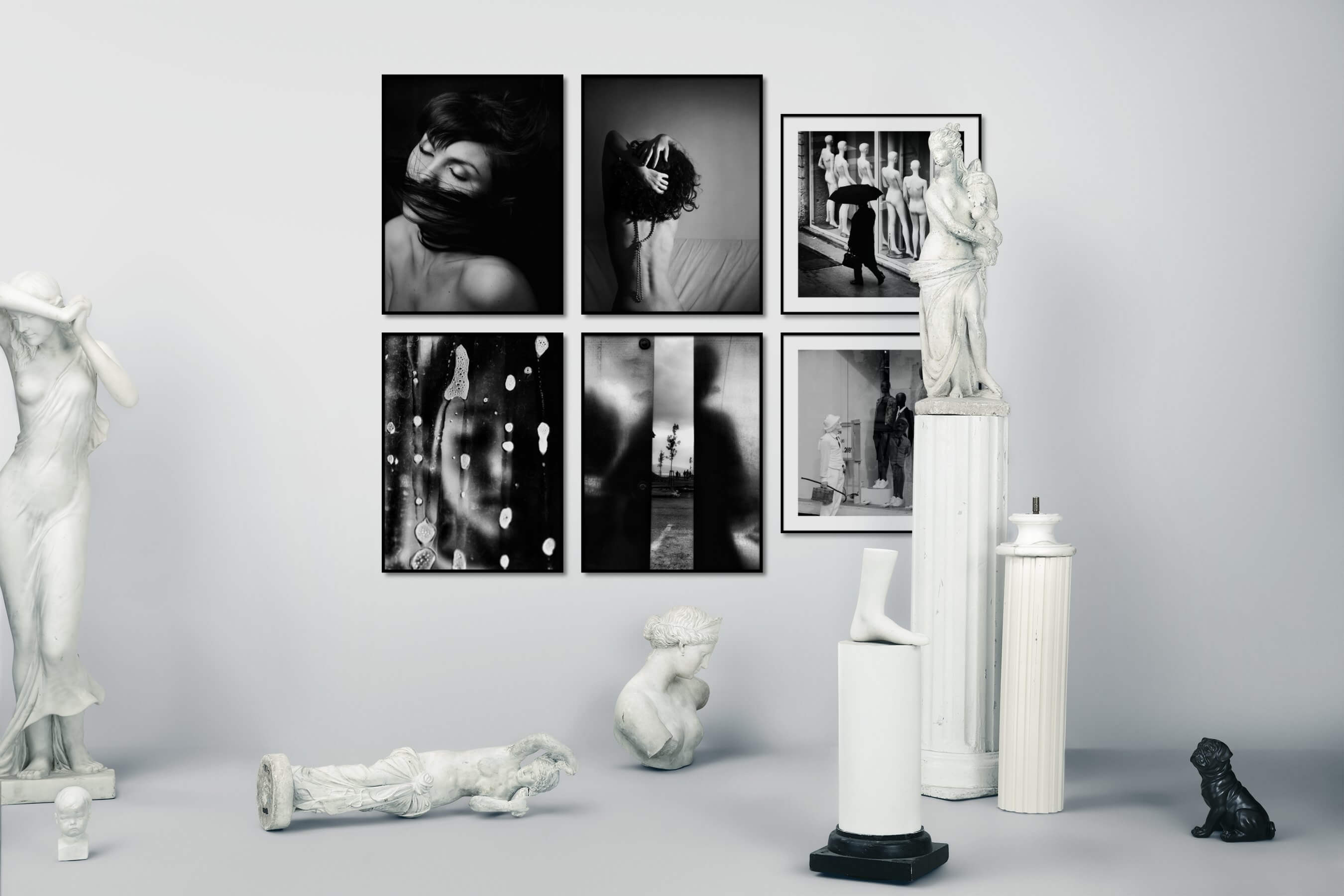 Gallery wall idea with six framed pictures arranged on a wall depicting Fashion & Beauty, Black & White, For the Moderate, Artsy, and City Life