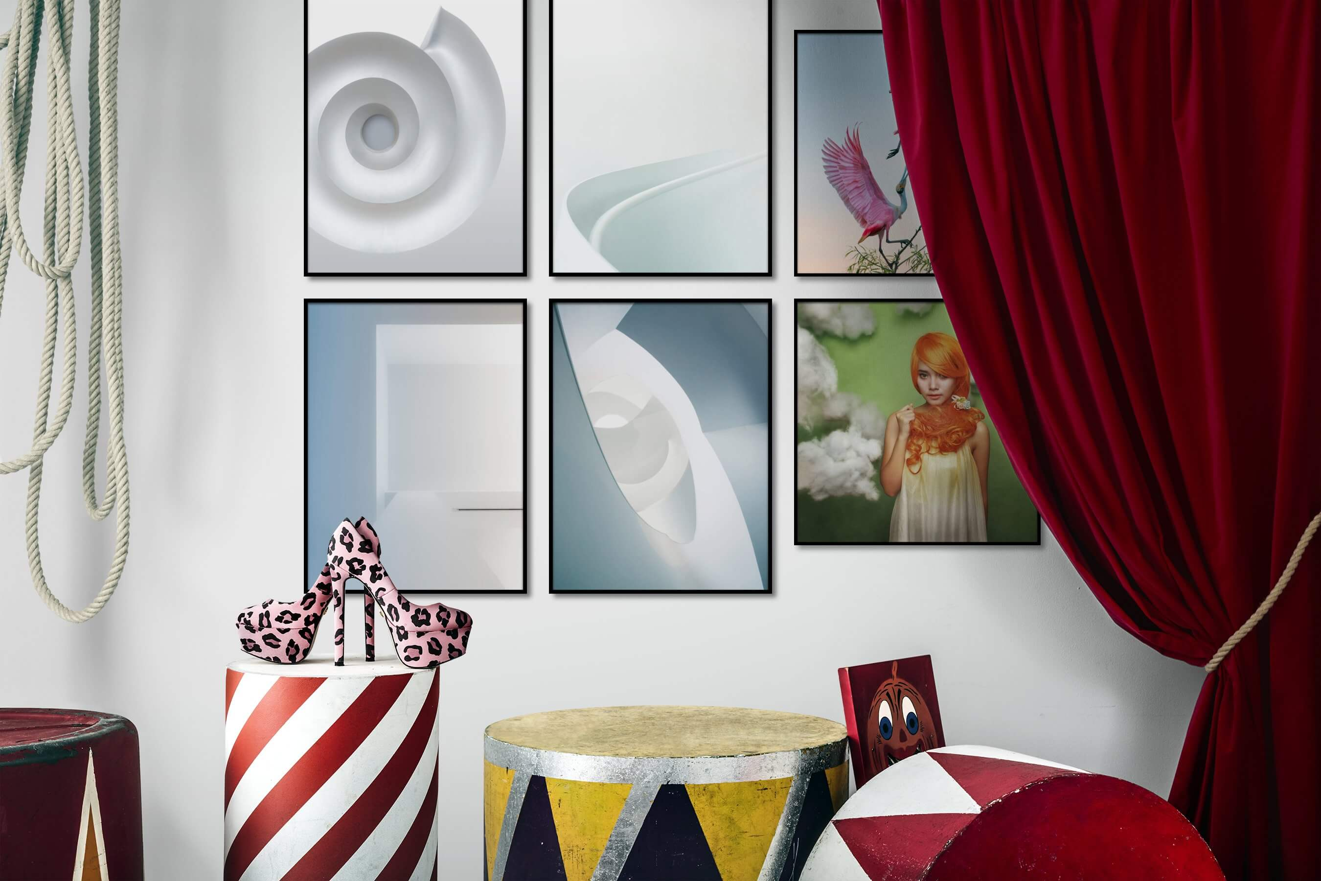 Gallery wall idea with six framed pictures arranged on a wall depicting Bright Tones, For the Minimalist, For the Moderate, Animals, and Fashion & Beauty