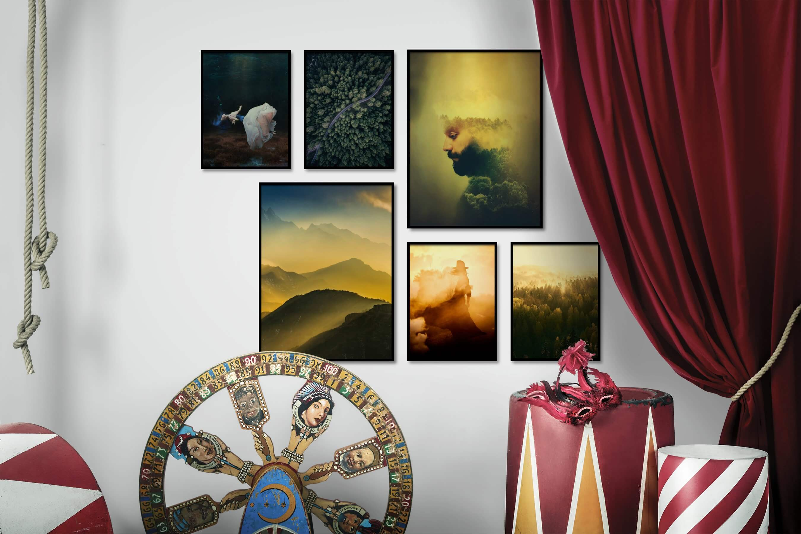 Gallery wall idea with six framed pictures arranged on a wall depicting Fashion & Beauty, Beach & Water, For the Moderate, Nature, Artsy, Mindfulness, and Vintage