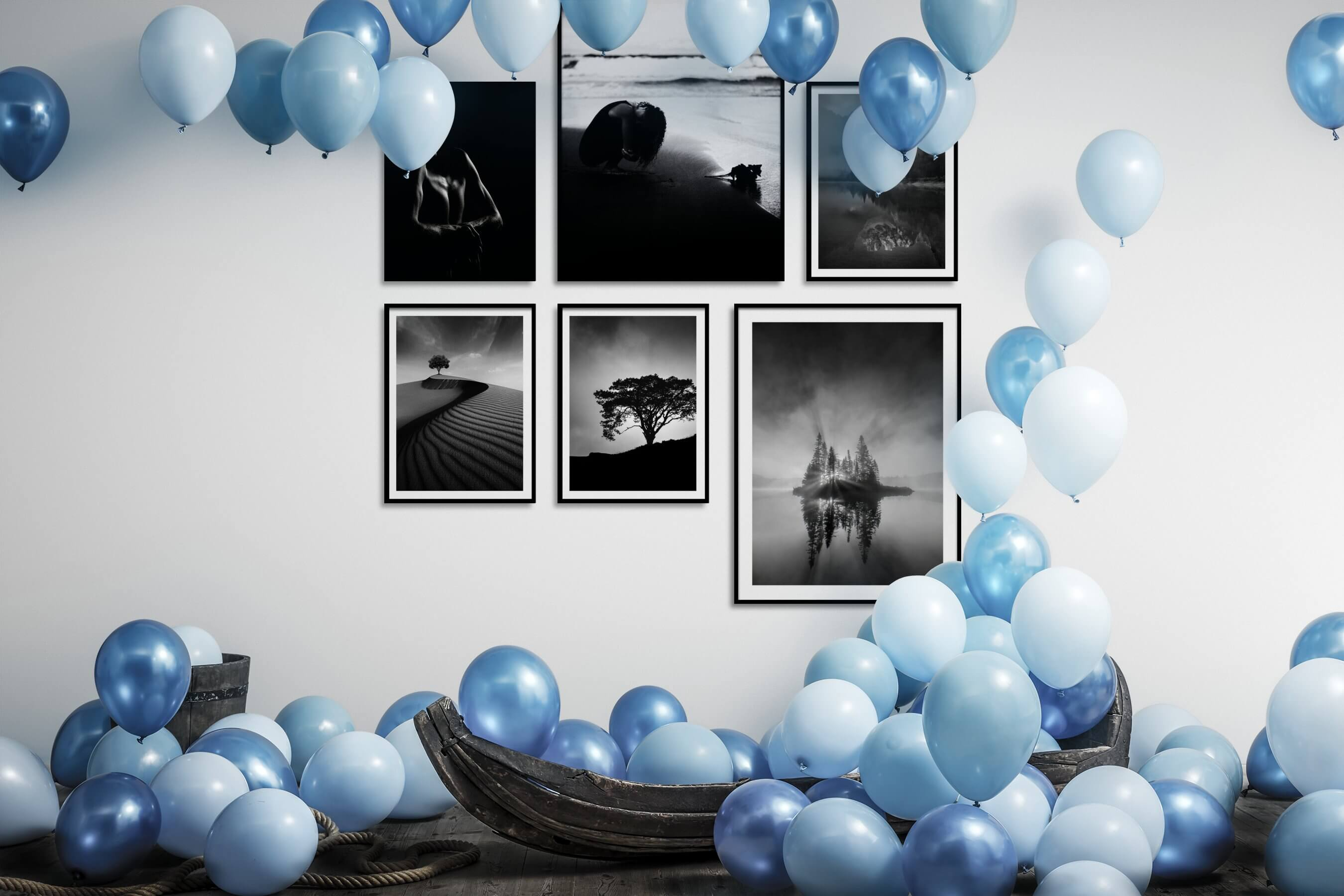 Gallery wall idea with six framed pictures arranged on a wall depicting Fashion & Beauty, Black & White, Dark Tones, For the Minimalist, Artsy, Beach & Water, Nature, and Mindfulness