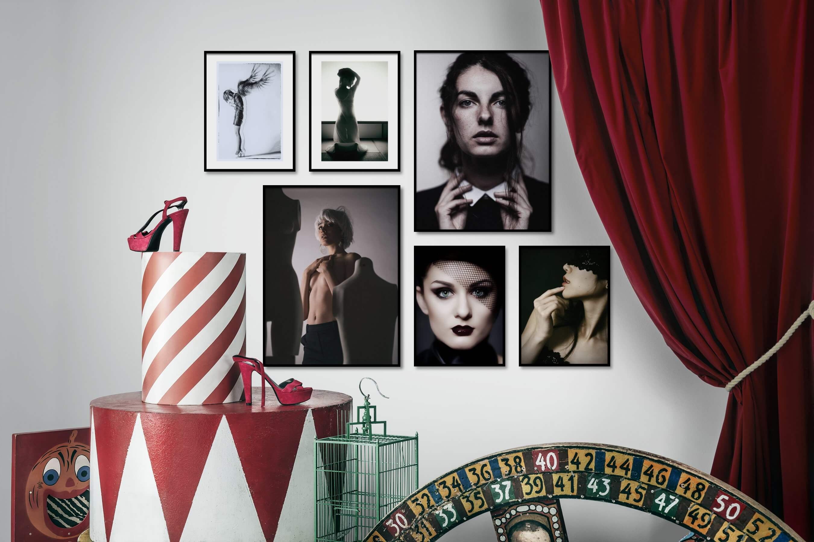 Gallery wall idea with six framed pictures arranged on a wall depicting Fashion & Beauty and Black & White
