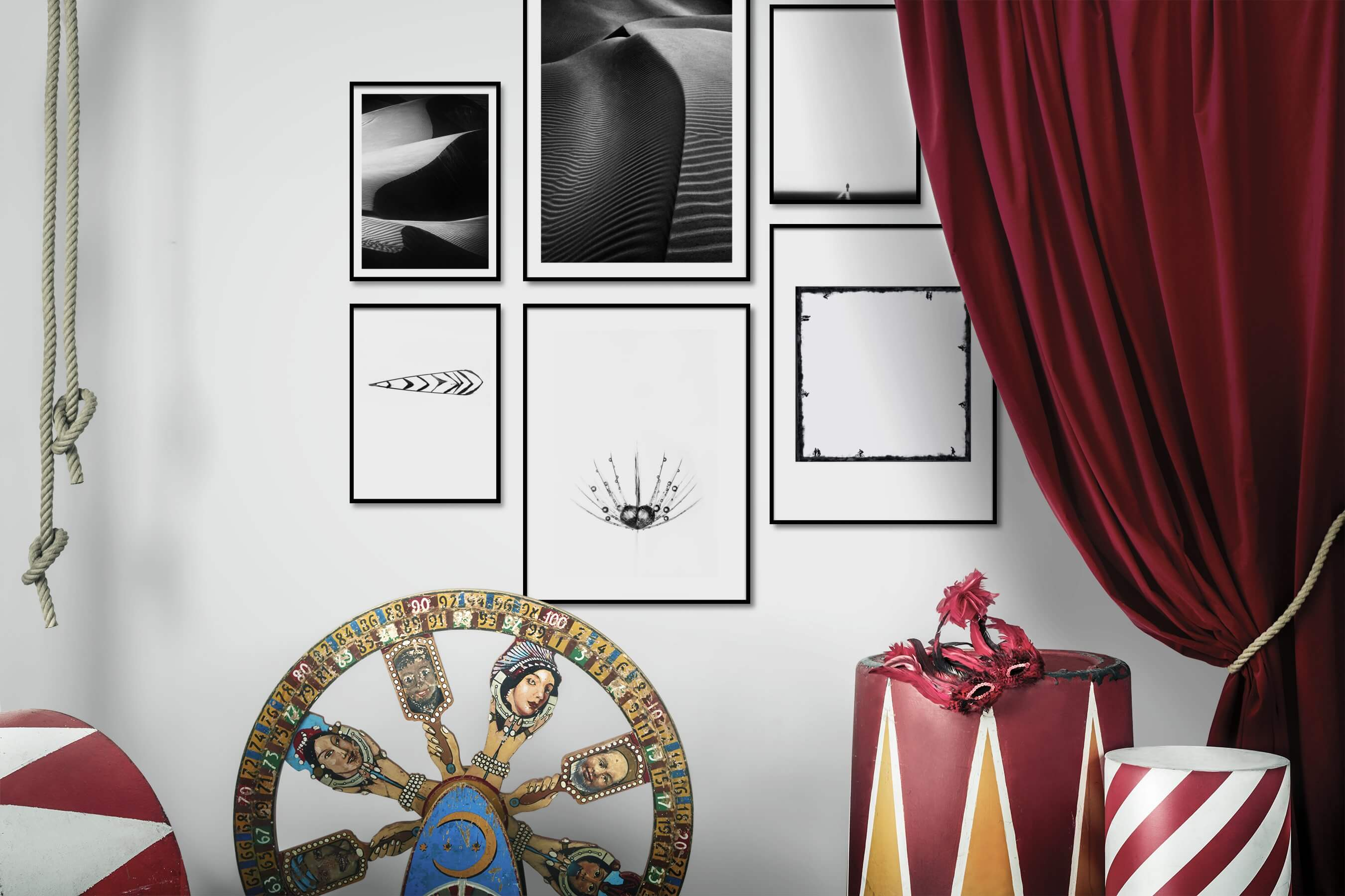 Gallery wall idea with six framed pictures arranged on a wall depicting Black & White, For the Moderate, Nature, For the Minimalist, Bright Tones, Flowers & Plants, Mindfulness, and Country Life