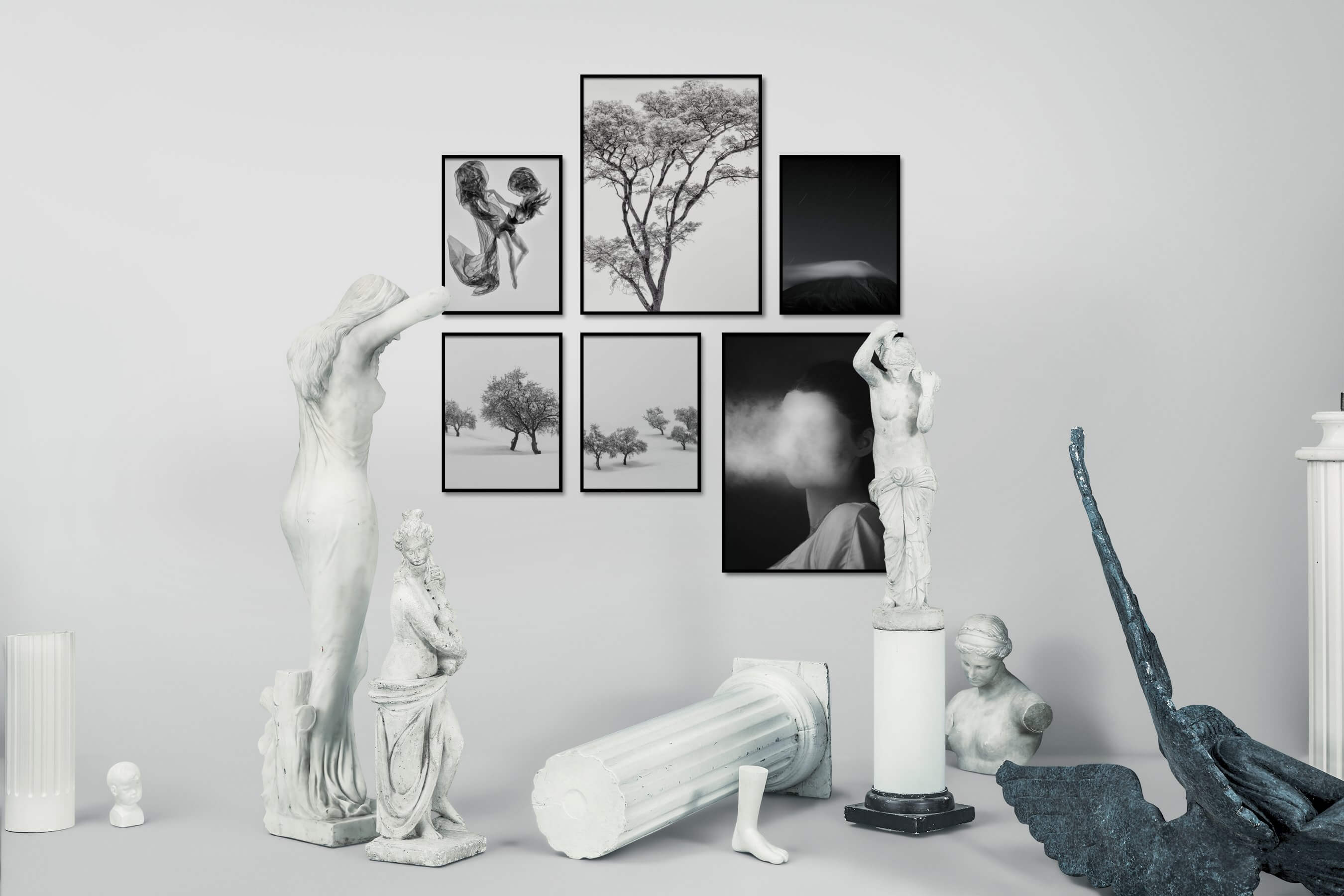 Gallery wall idea with six framed pictures arranged on a wall depicting Fashion & Beauty, Black & White, For the Moderate, Nature, For the Minimalist, Country Life, Artsy, Dark Tones, and Mindfulness