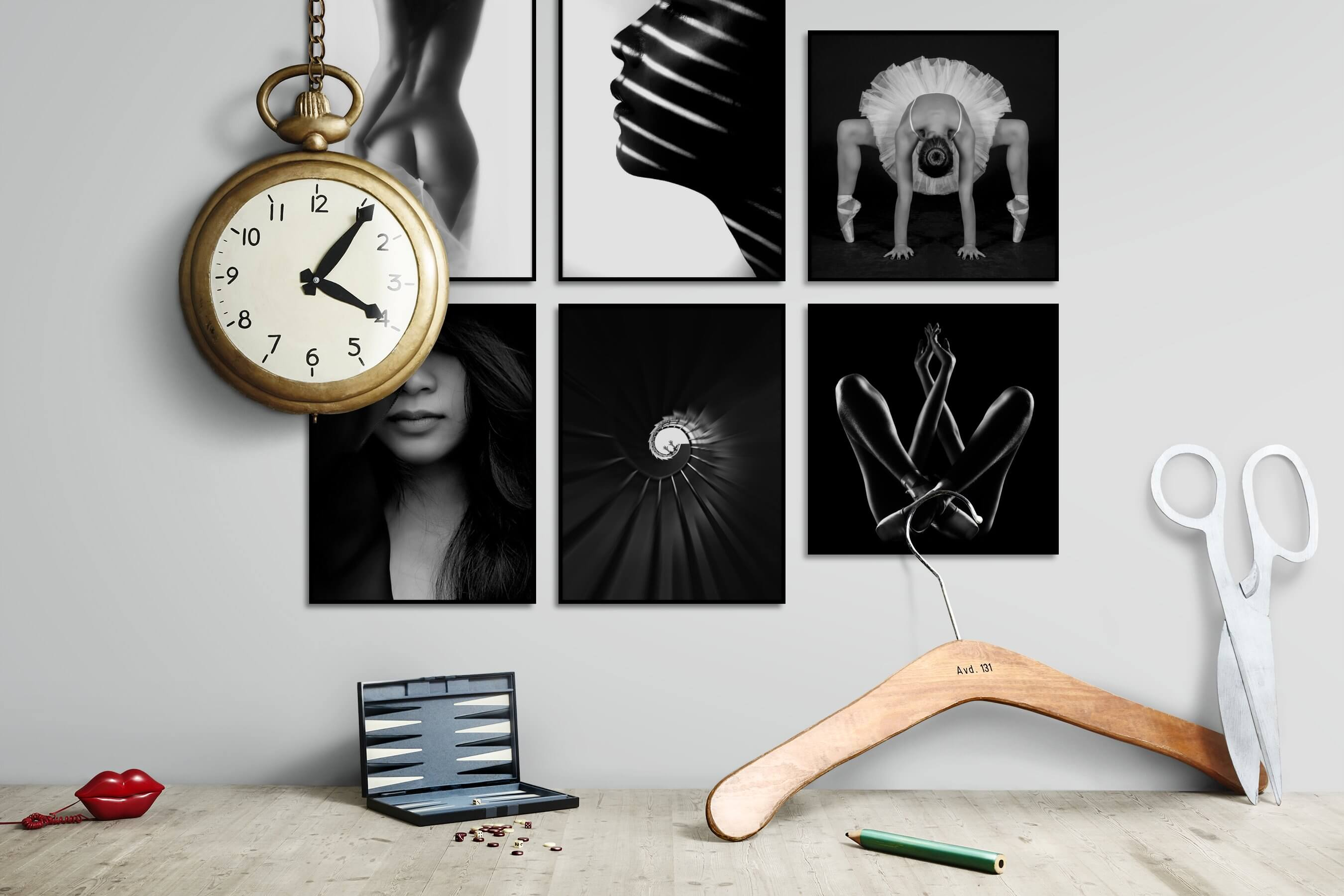 Gallery wall idea with six framed pictures arranged on a wall depicting Fashion & Beauty, Black & White, Bright Tones, For the Minimalist, For the Moderate, and Dark Tones