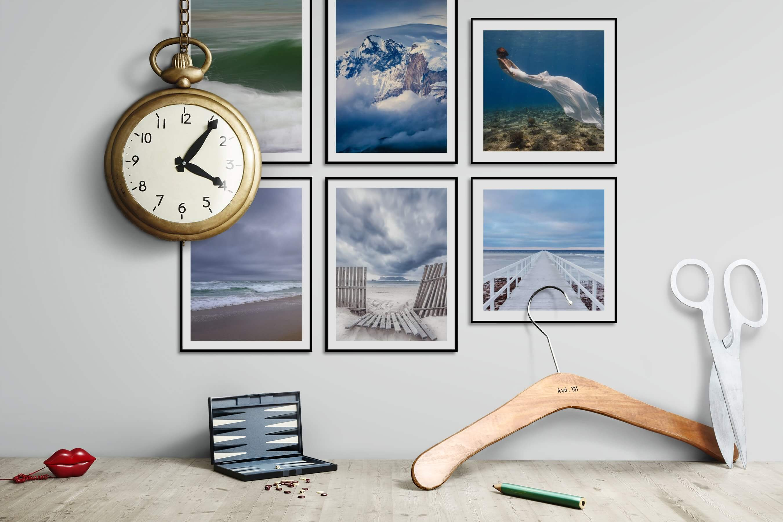 Gallery wall idea with six framed pictures arranged on a wall depicting Beach & Water, Nature, Fashion & Beauty, and Mindfulness