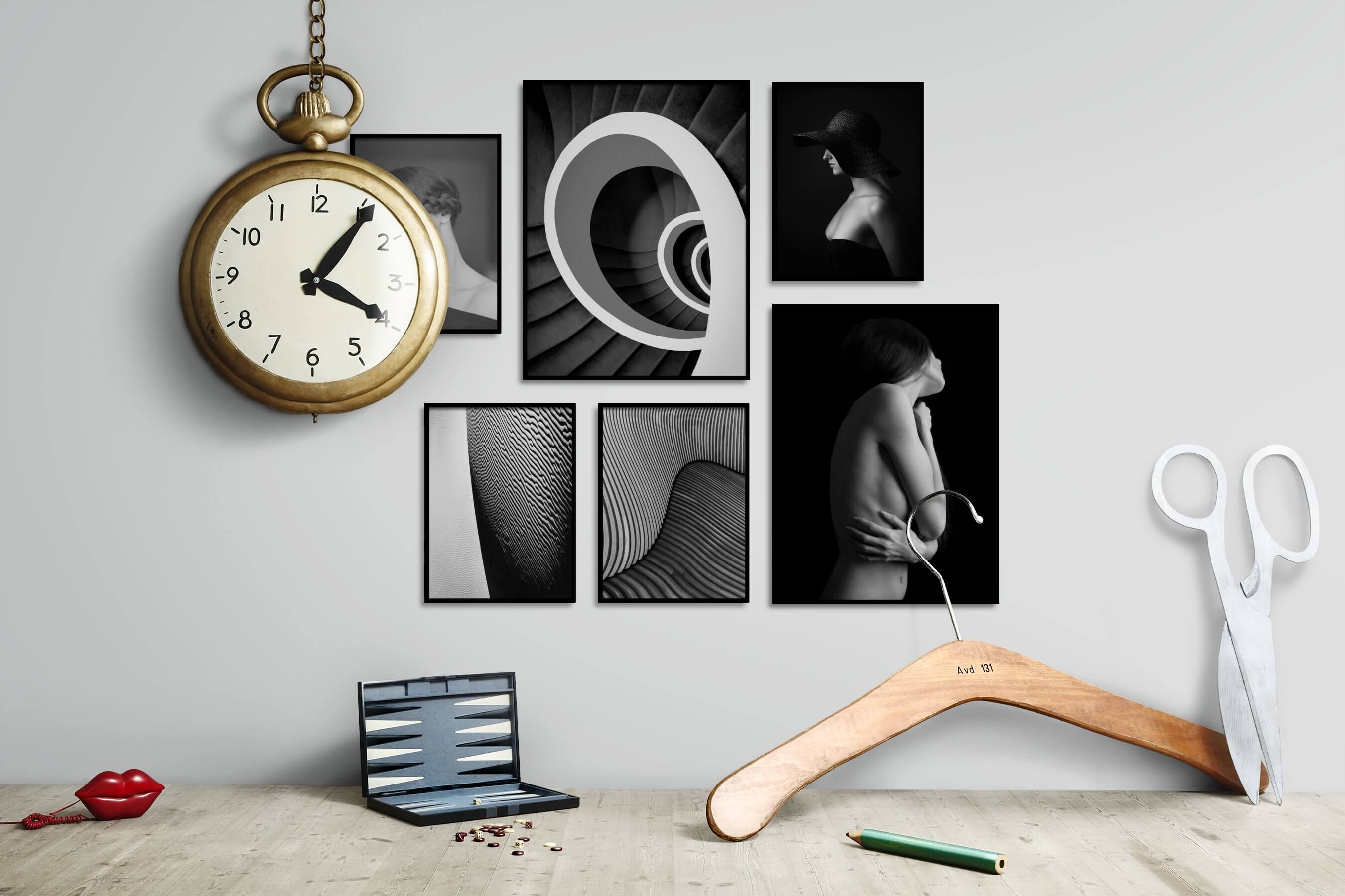 Gallery wall idea with six framed pictures arranged on a wall depicting Fashion & Beauty, Black & White, For the Moderate, For the Minimalist, Nature, and Dark Tones
