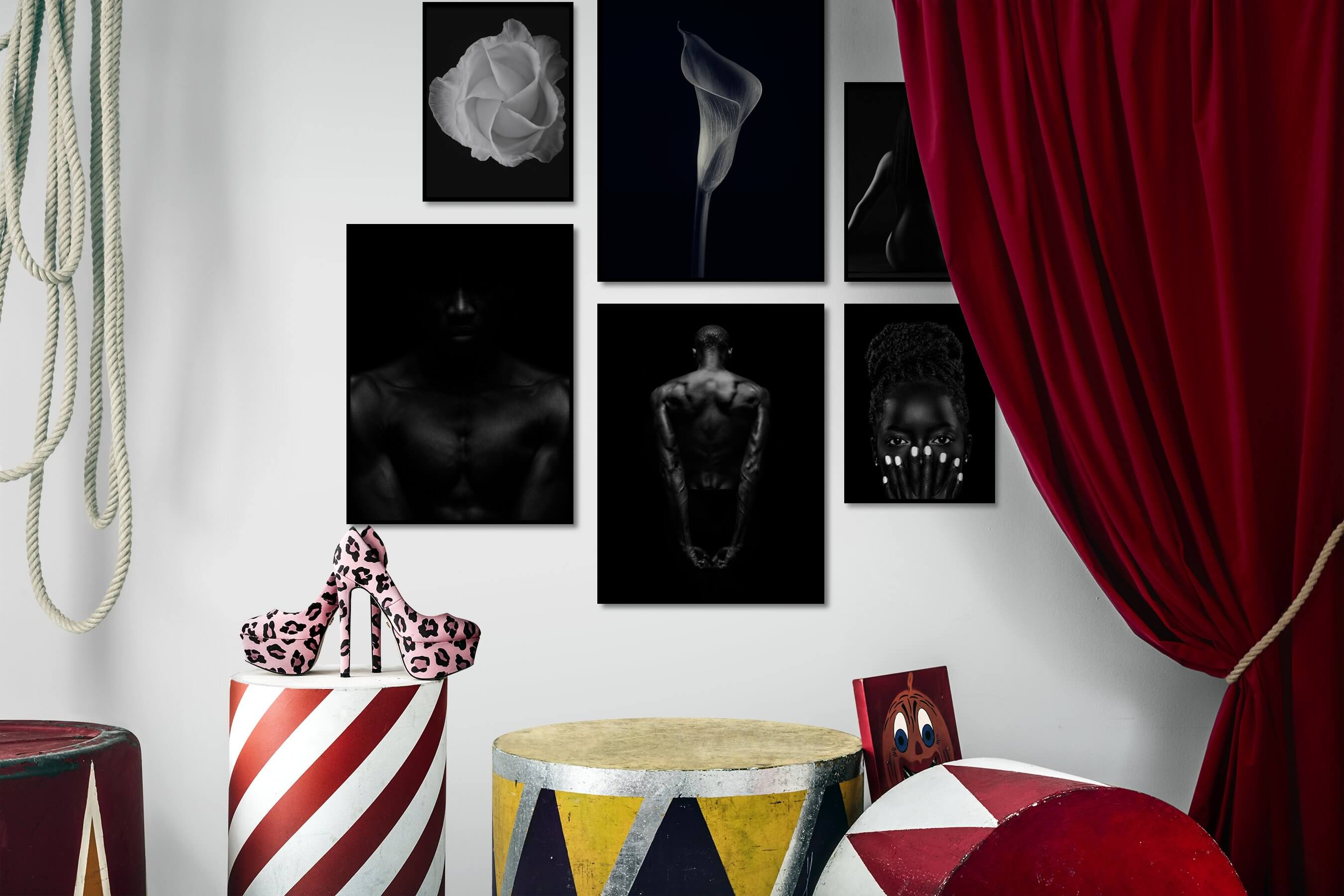 Gallery wall idea with six framed pictures arranged on a wall depicting Dark Tones, For the Moderate, Flowers & Plants, For the Minimalist, Fashion & Beauty, and Black & White