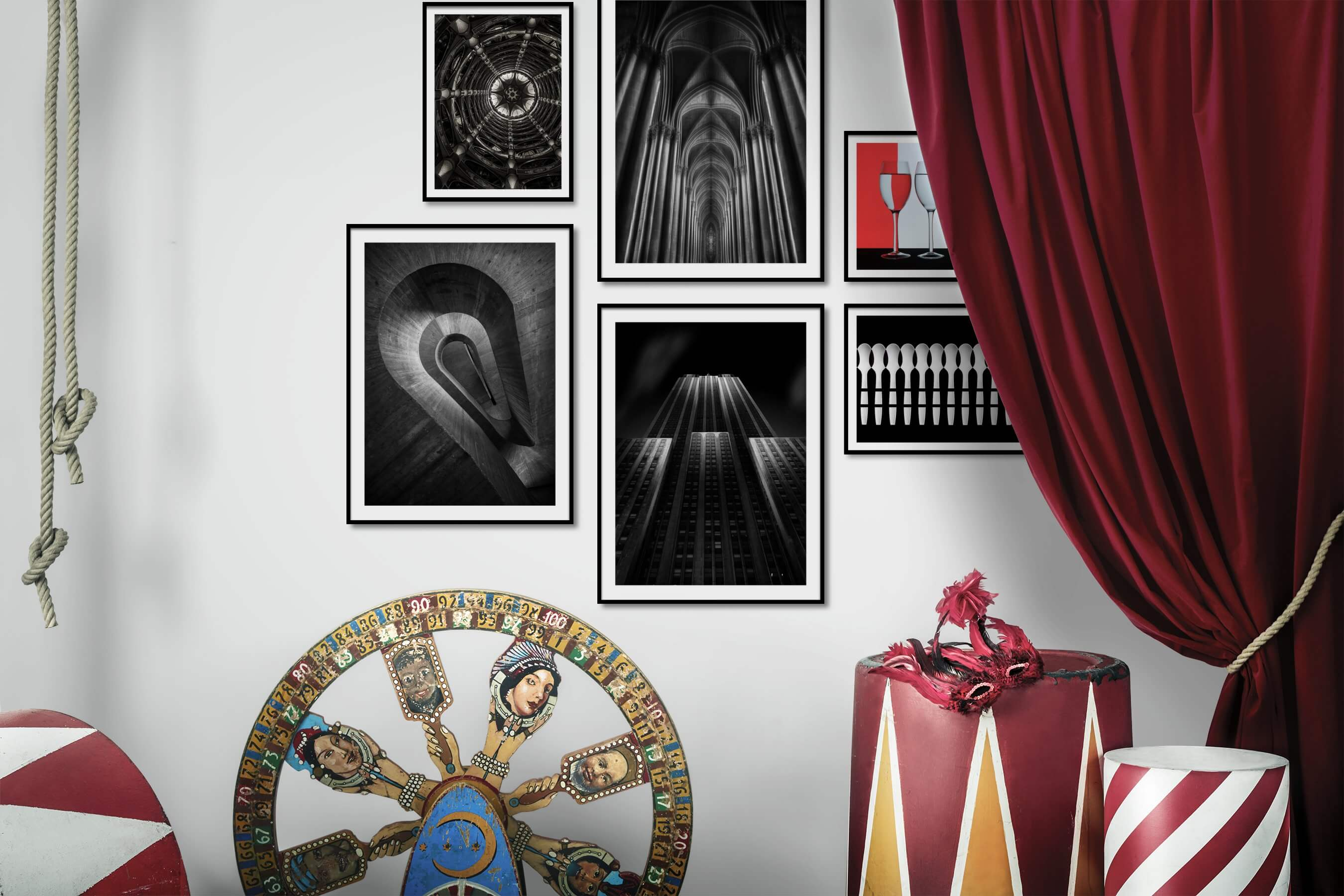 Gallery wall idea with six framed pictures arranged on a wall depicting For the Maximalist, Black & White, For the Moderate, City Life, Americana, and For the Minimalist