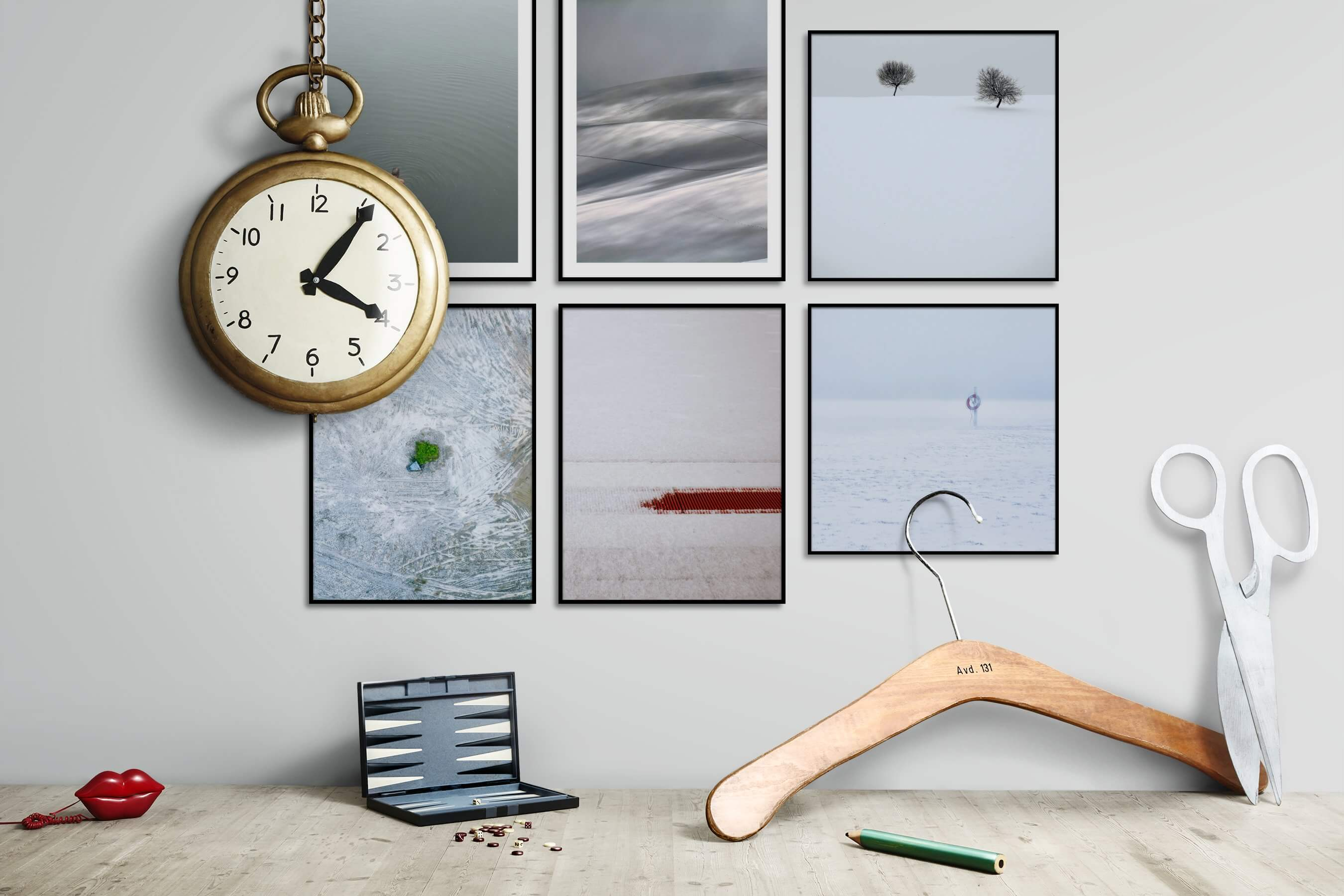 Gallery wall idea with six framed pictures arranged on a wall depicting For the Minimalist, Beach & Water, Mindfulness, Nature, For the Moderate, and Country Life