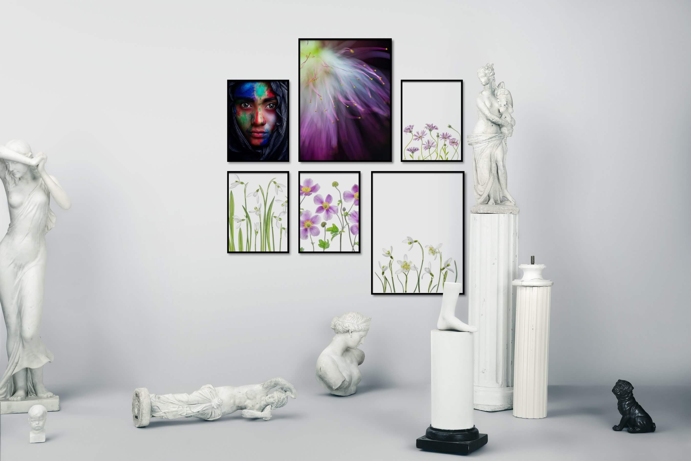 Gallery wall idea with six framed pictures arranged on a wall depicting Fashion & Beauty, For the Moderate, Flowers & Plants, Bright Tones, and For the Minimalist