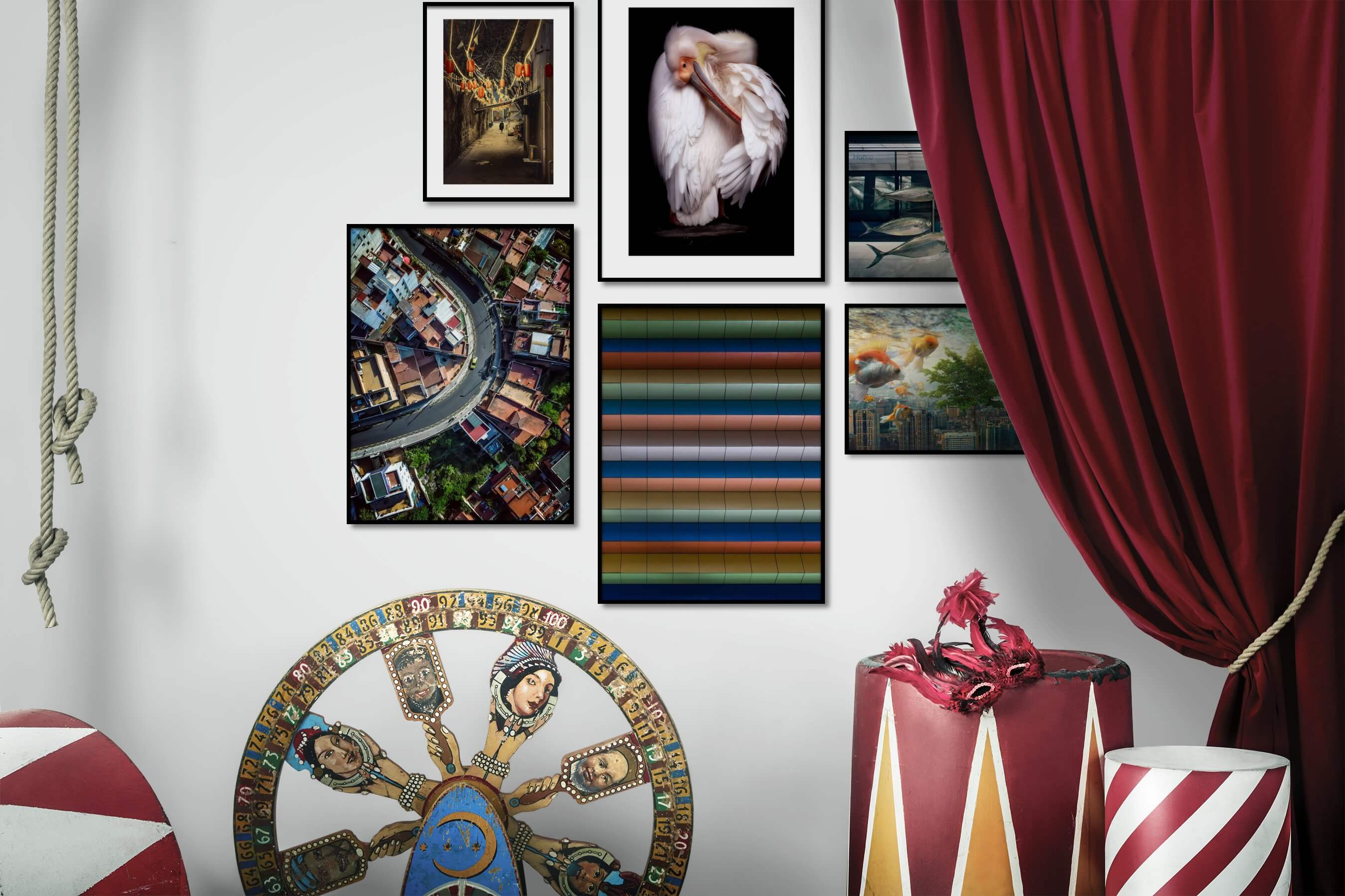 Gallery wall idea with six framed pictures arranged on a wall depicting City Life, Animals, For the Maximalist, and Artsy