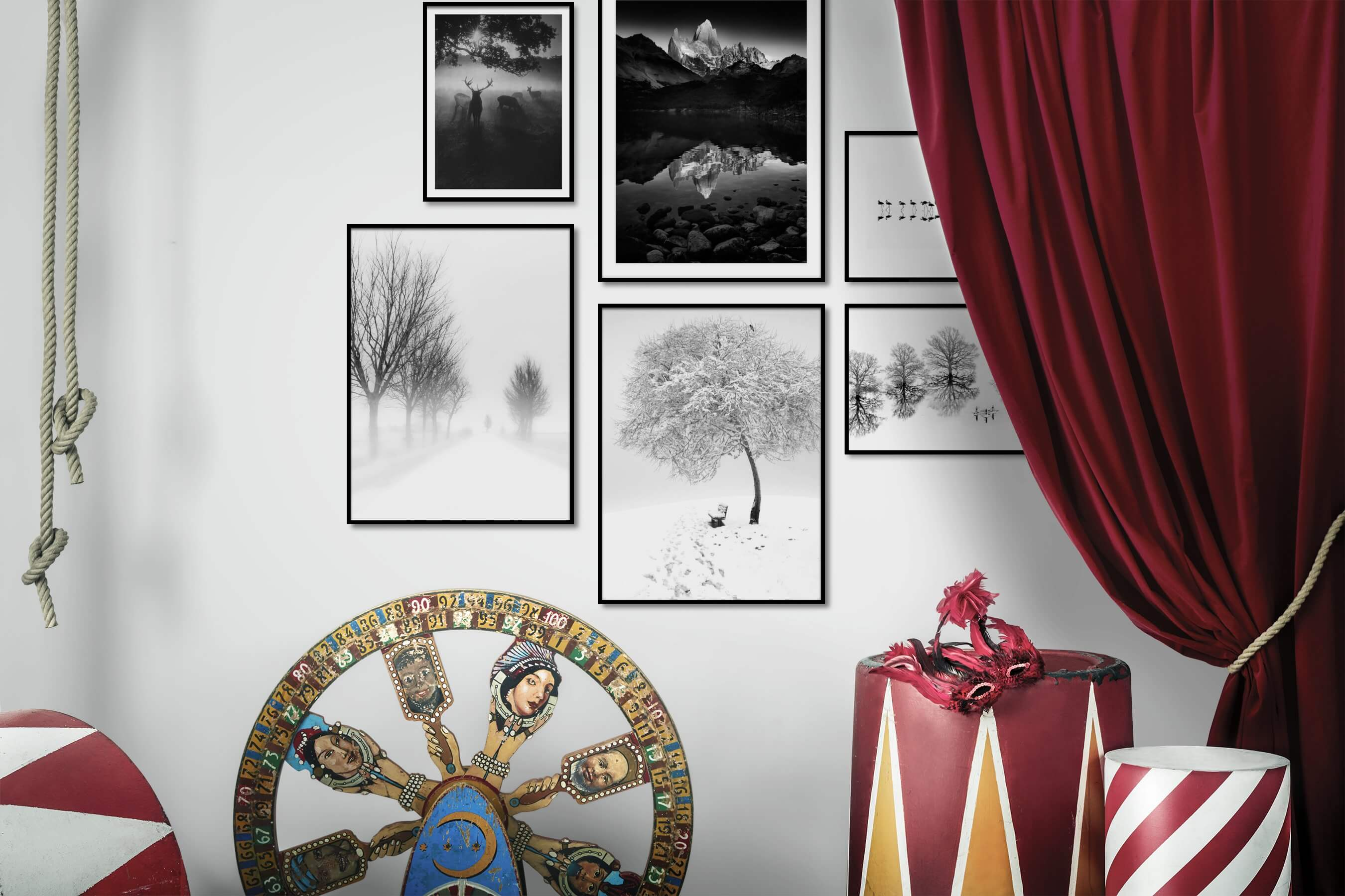 Gallery wall idea with six framed pictures arranged on a wall depicting Black & White, Animals, Nature, Bright Tones, For the Minimalist, Country Life, and Beach & Water