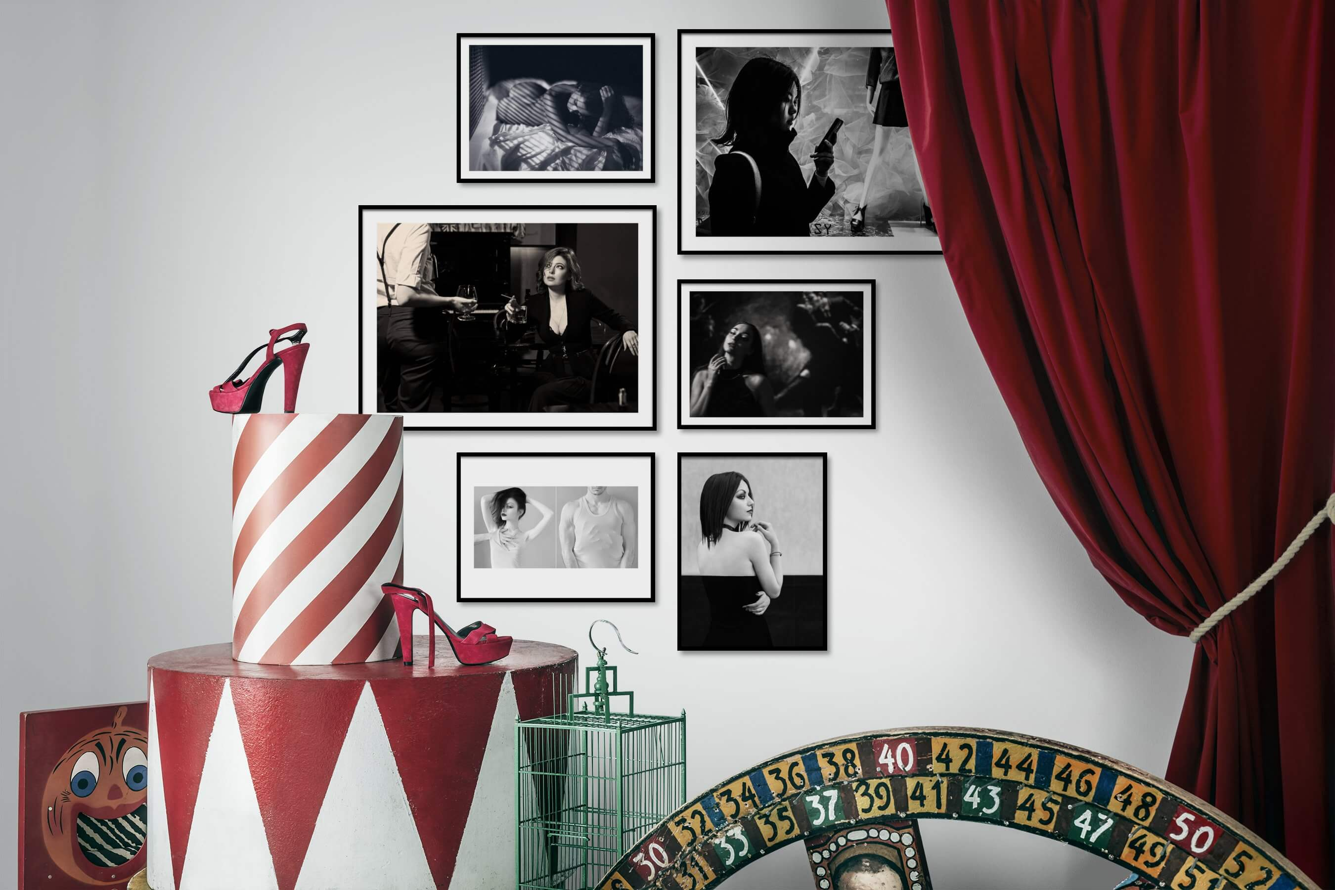 Gallery wall idea with six framed pictures arranged on a wall depicting Fashion & Beauty, Black & White, Vintage, and Artsy