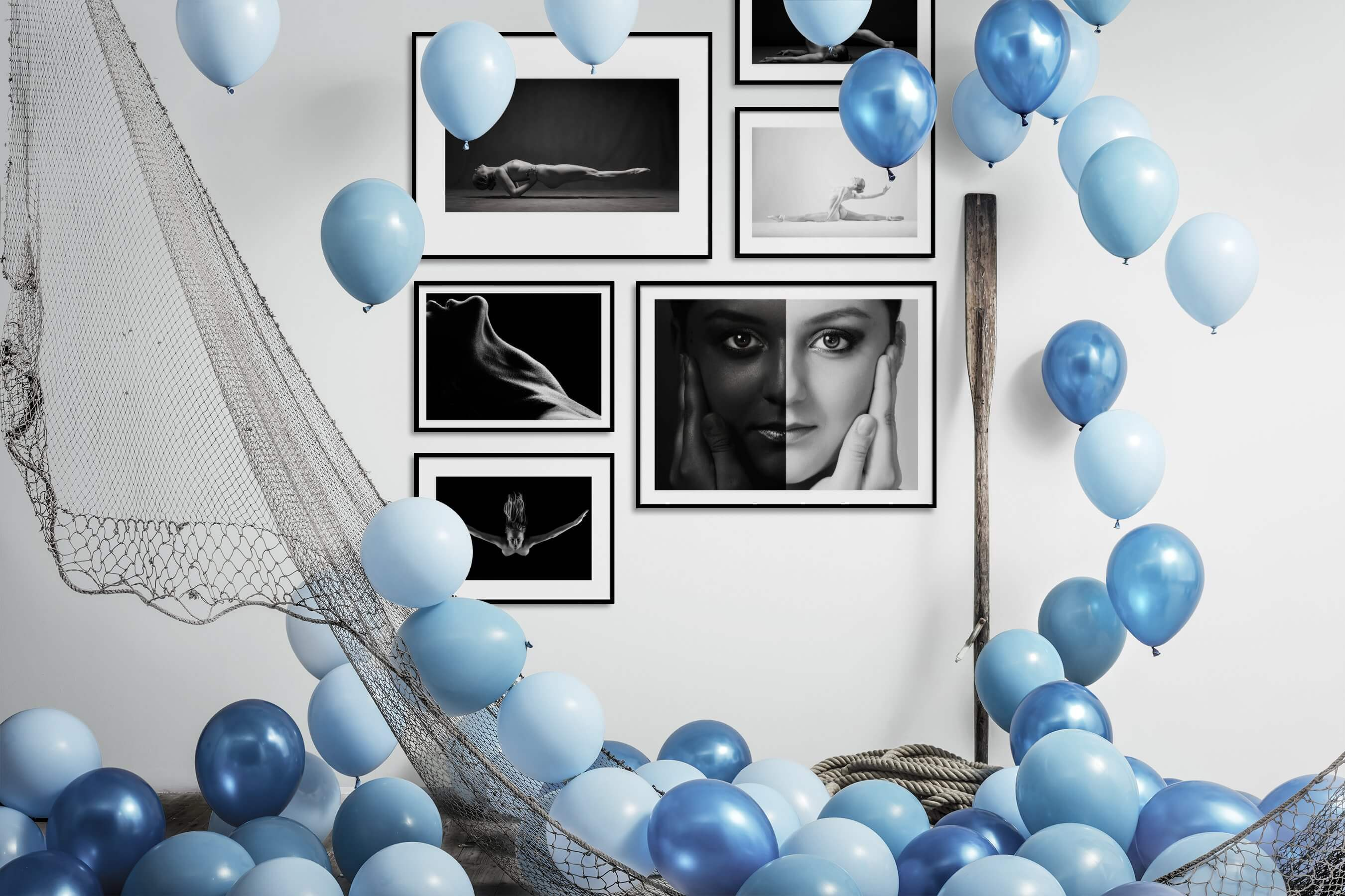 Gallery wall idea with six framed pictures arranged on a wall depicting Fashion & Beauty, Black & White, For the Minimalist, and Bold