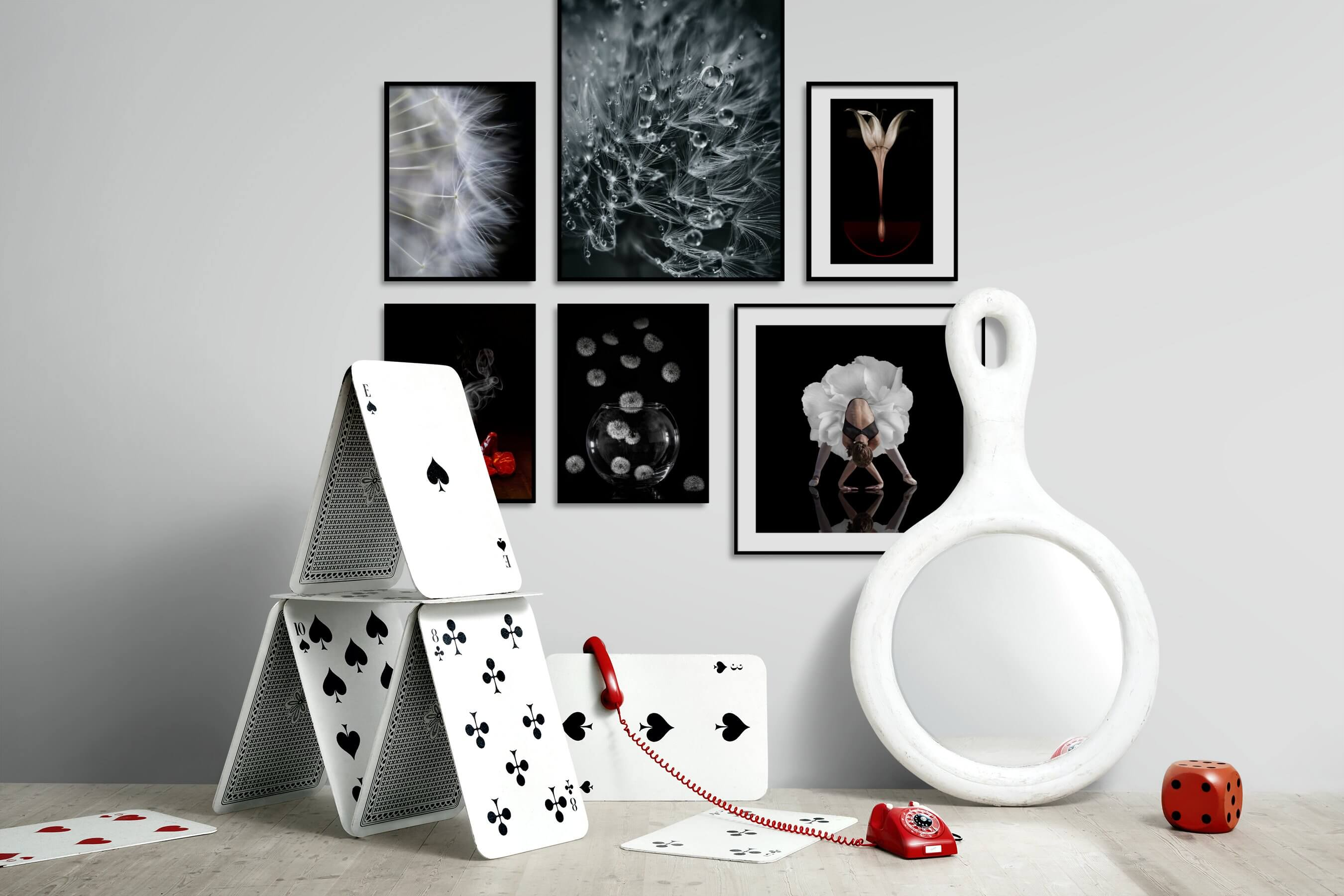 Gallery wall idea with six framed pictures arranged on a wall depicting Flowers & Plants, Mindfulness, Black & White, Dark Tones, For the Minimalist, For the Moderate, and Fashion & Beauty