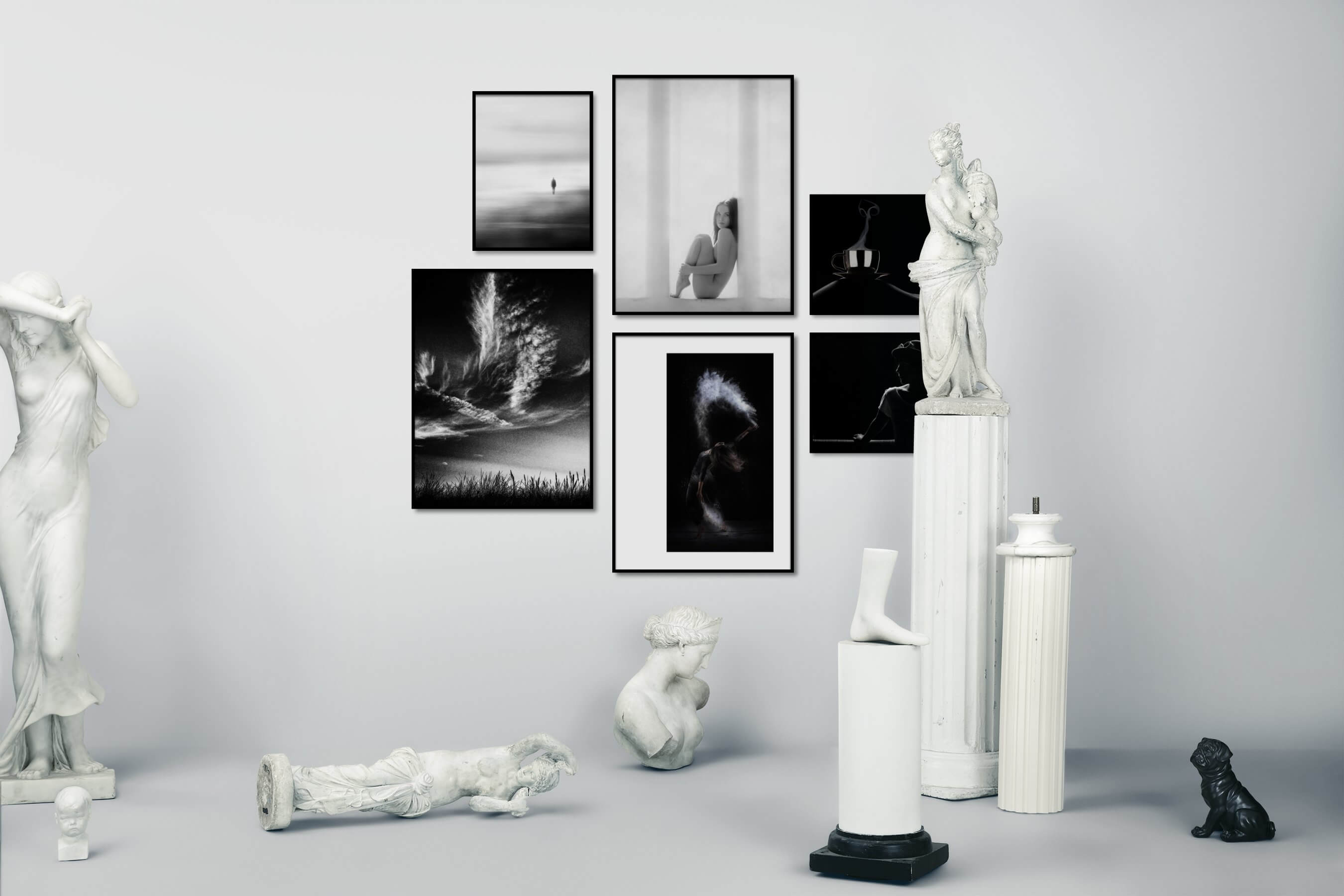 Gallery wall idea with six framed pictures arranged on a wall depicting Black & White, For the Minimalist, Fashion & Beauty, Nature, For the Moderate, Mindfulness, and Dark Tones