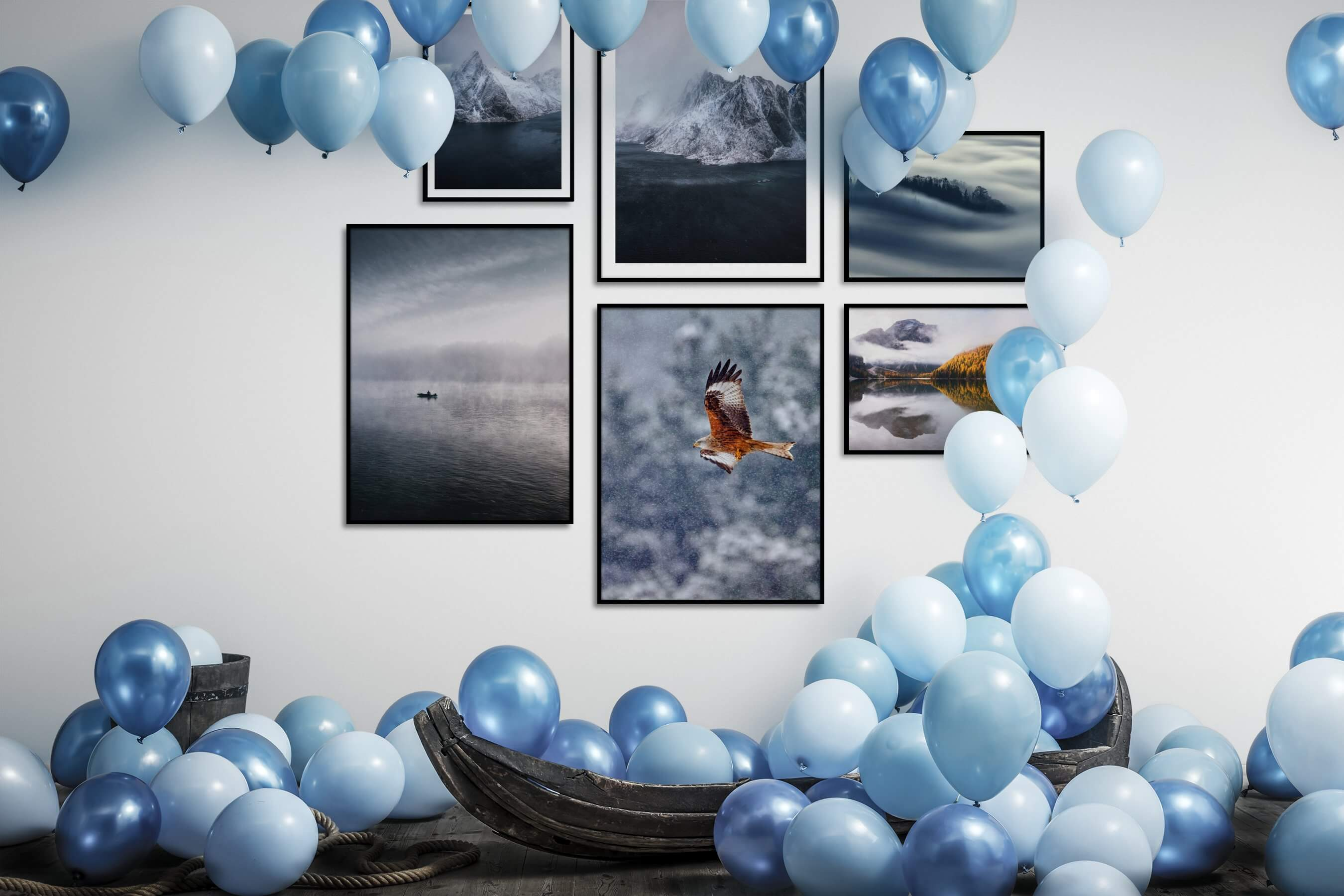 Gallery wall idea with six framed pictures arranged on a wall depicting Nature, For the Minimalist, Beach & Water, Mindfulness, Animals, and For the Moderate