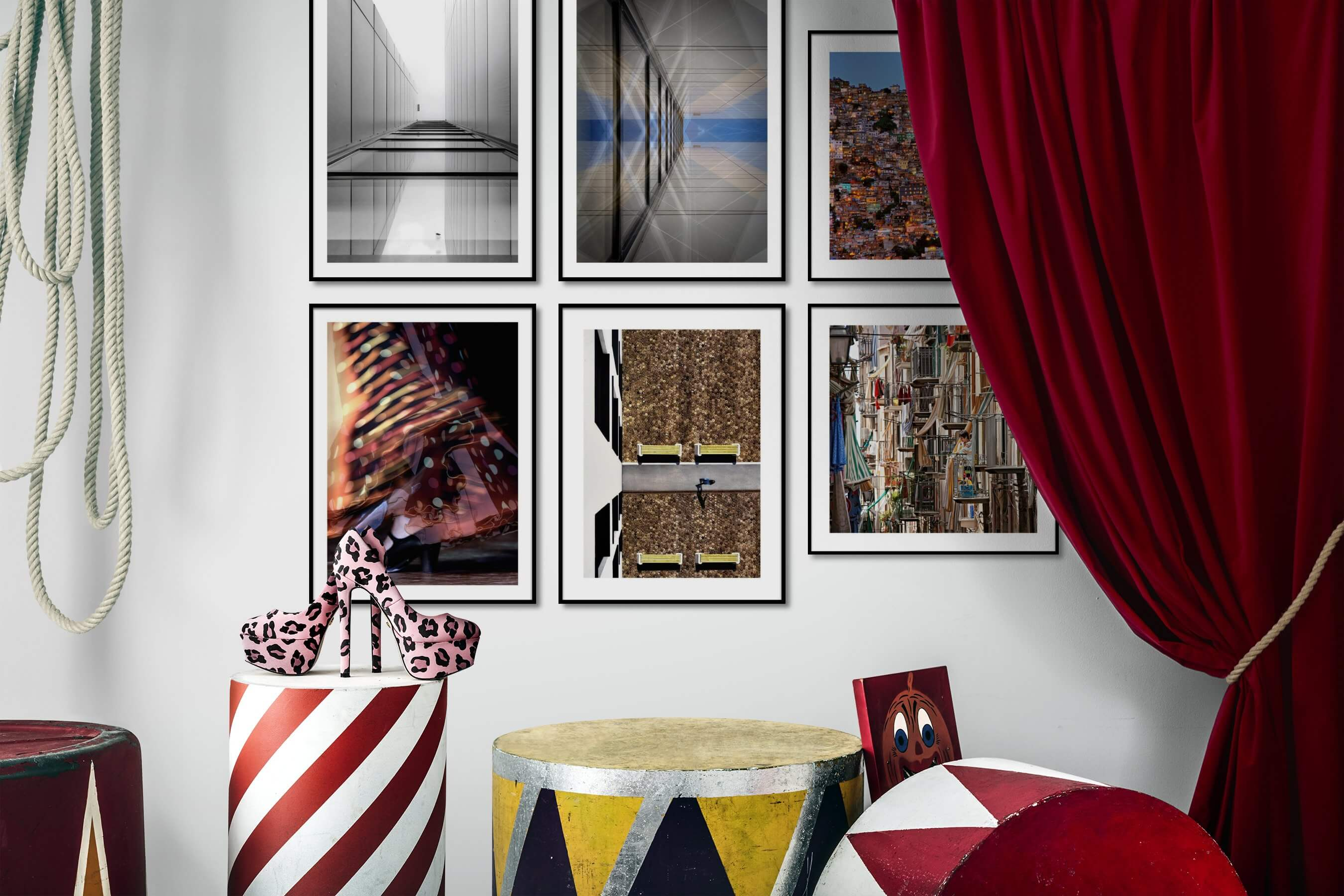 Gallery wall idea with six framed pictures arranged on a wall depicting Black & White, For the Moderate, Fashion & Beauty, City Life, and For the Maximalist