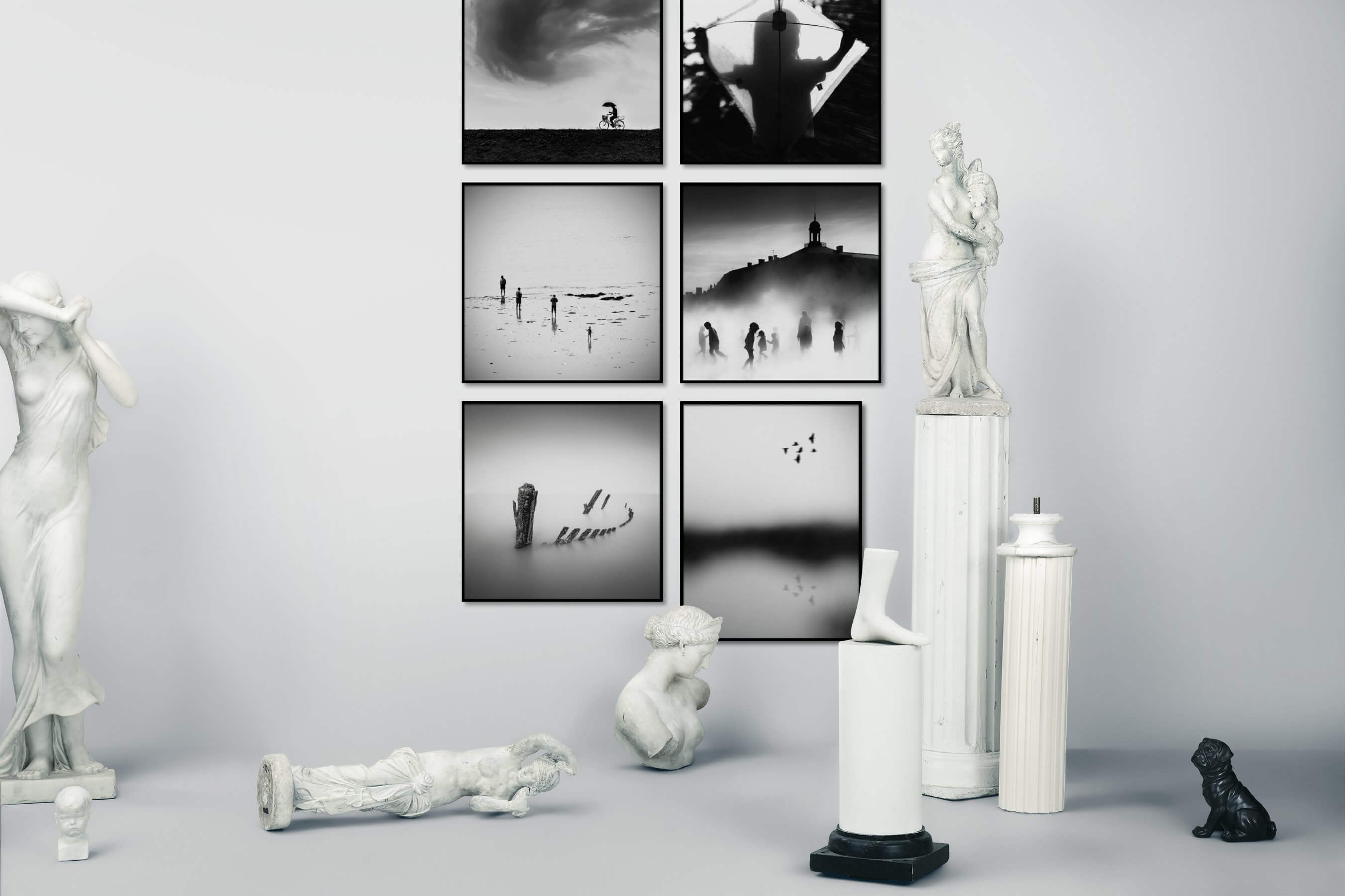 Gallery wall idea with six framed pictures arranged on a wall depicting Black & White, Country Life, For the Moderate, For the Minimalist, Beach & Water, City Life, Mindfulness, and Nature