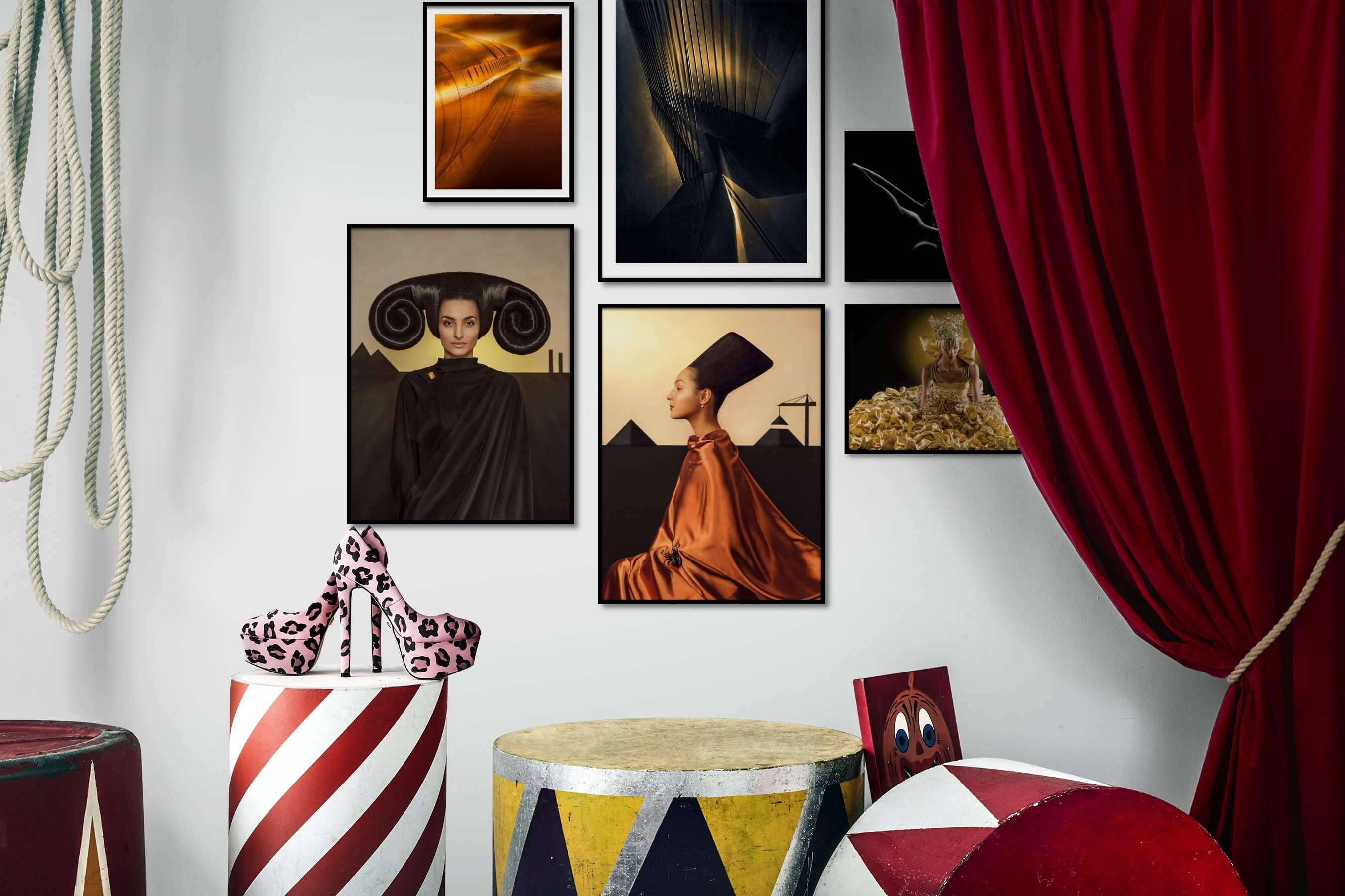Gallery wall idea with six framed pictures arranged on a wall depicting For the Moderate, Artsy, Fashion & Beauty, Black & White, Dark Tones, and For the Minimalist