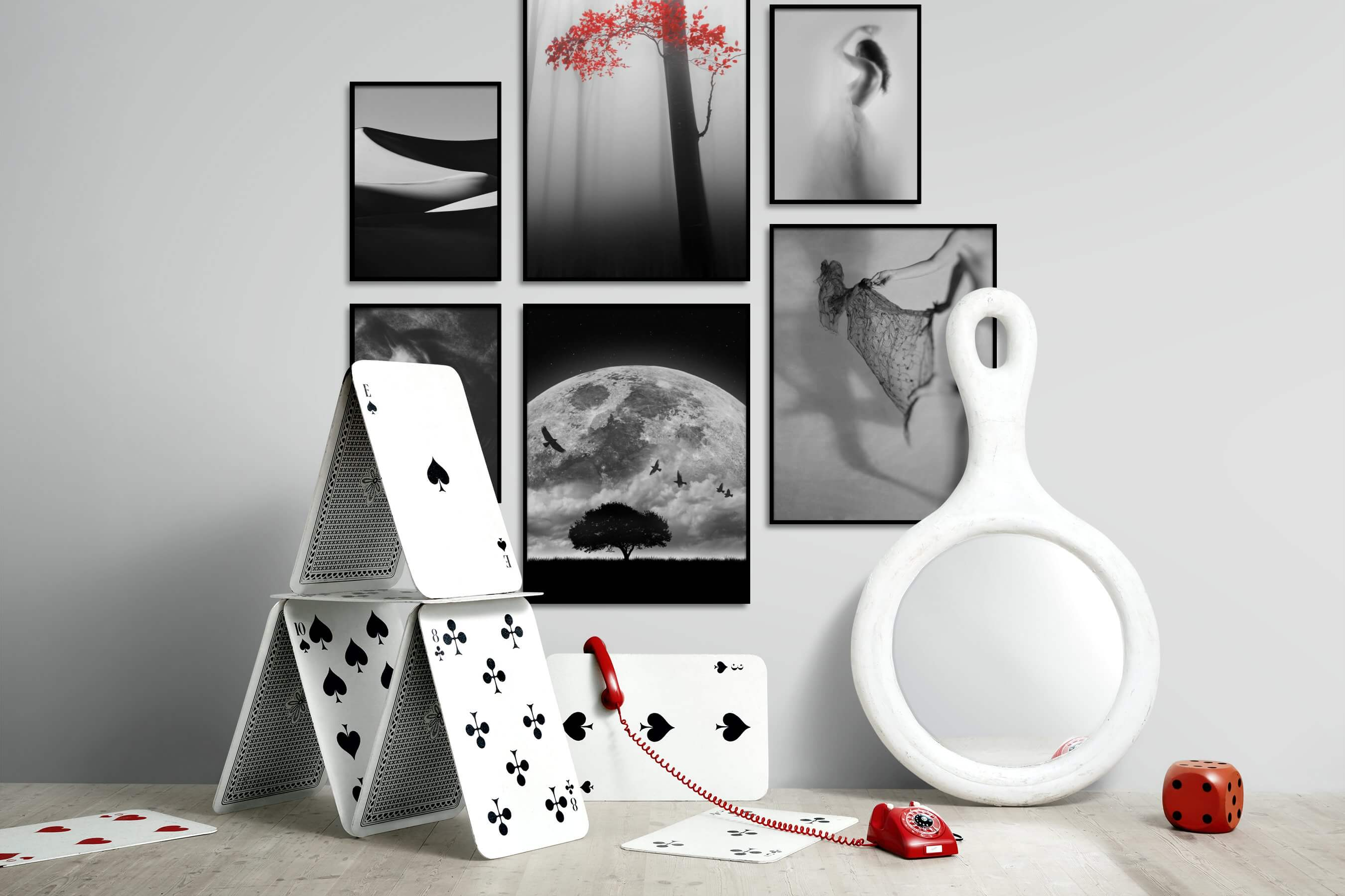 Gallery wall idea with six framed pictures arranged on a wall depicting Black & White, For the Minimalist, Nature, For the Moderate, Artsy, and Fashion & Beauty